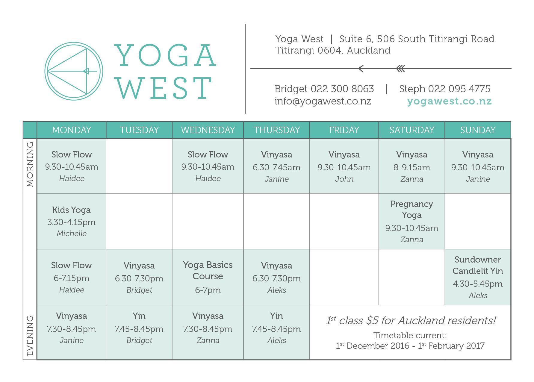 December January Timetable