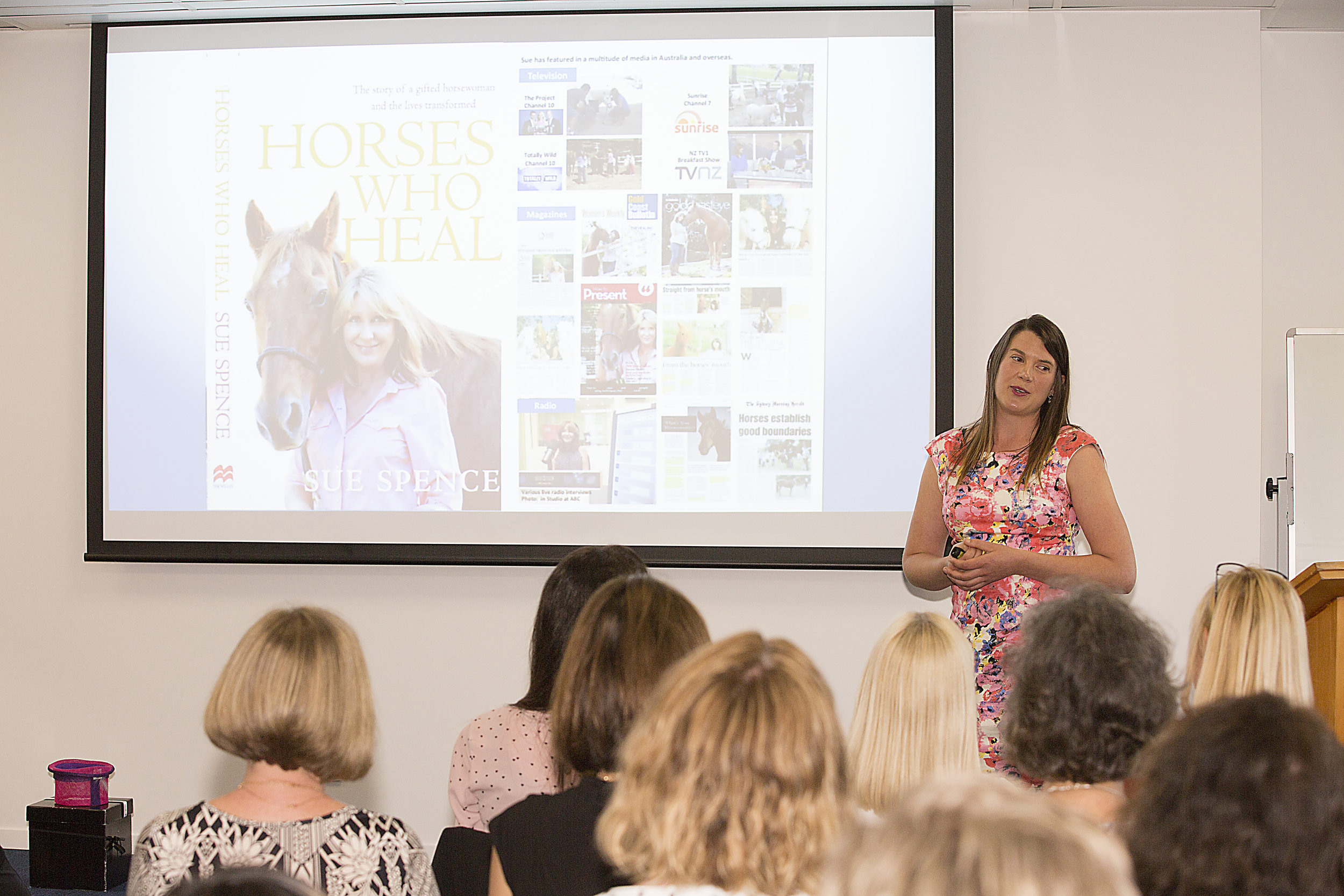 Kimberley speaking about Horses Helping Humans at Women and Business.