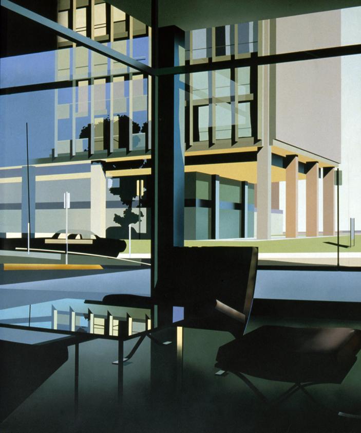 Van de Rohe Building with Barcelona Chair