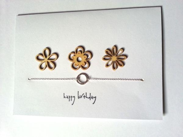 Flower Happy Birthday - Round Pendant