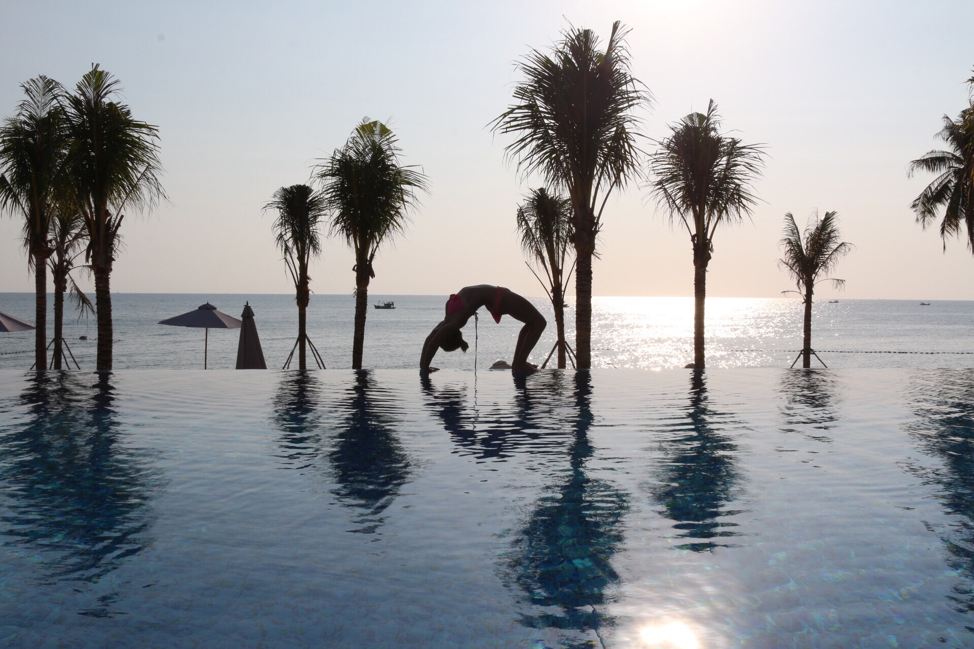 Sunset at Cassia Cottage's infinity pool