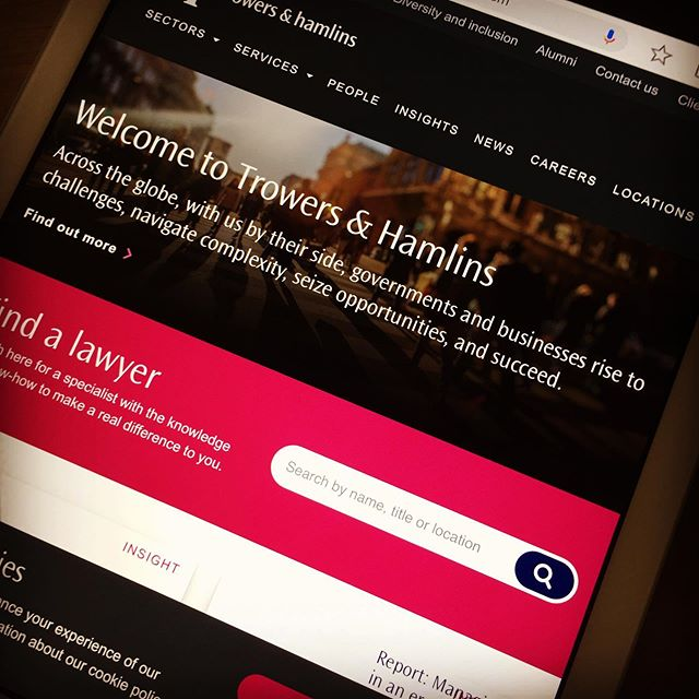 New website for law firm Trowers & Hamlins full of our words and ideas...
