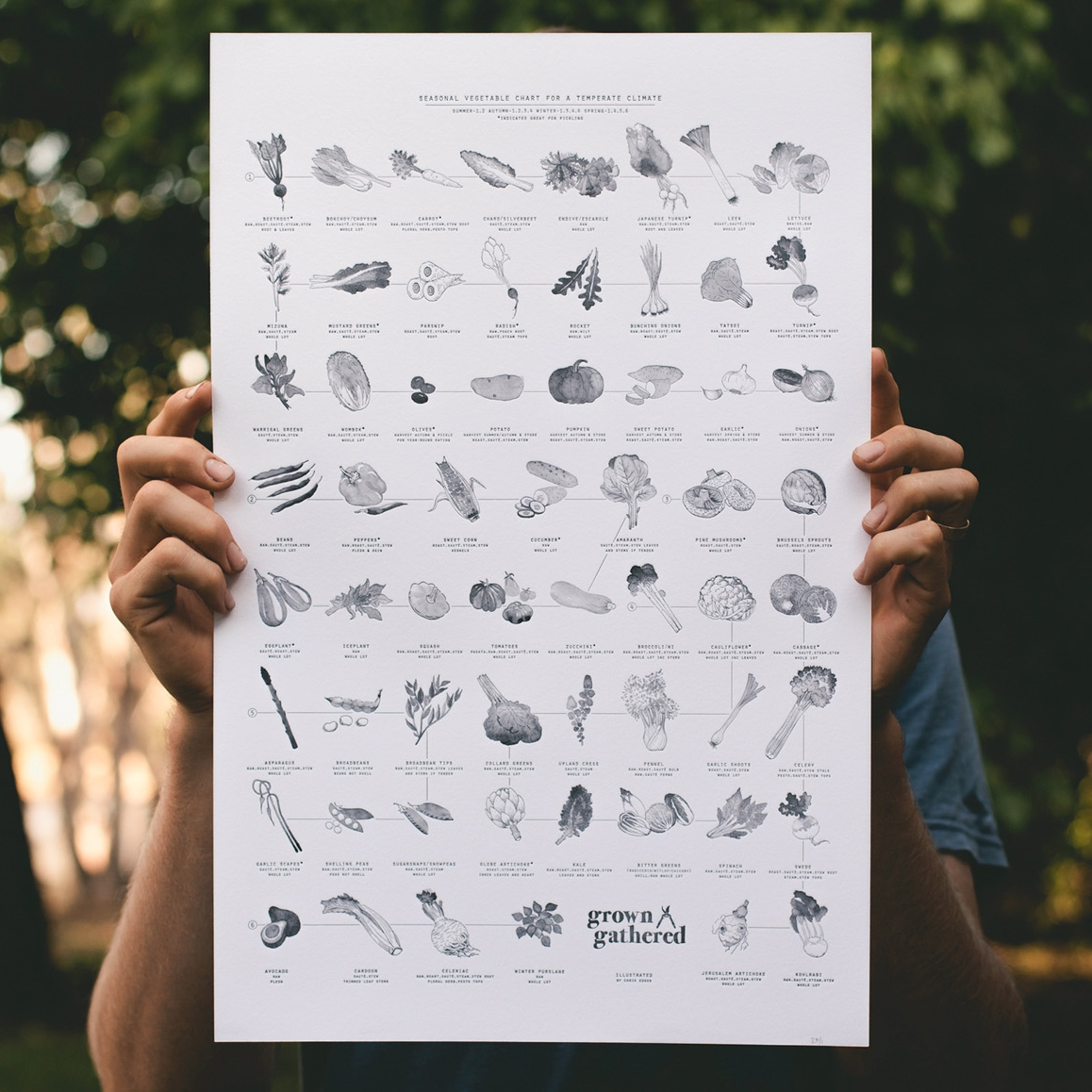 The seasonal chart print I illustrated for  Grown & Gathered  can be purchased from their website  here .