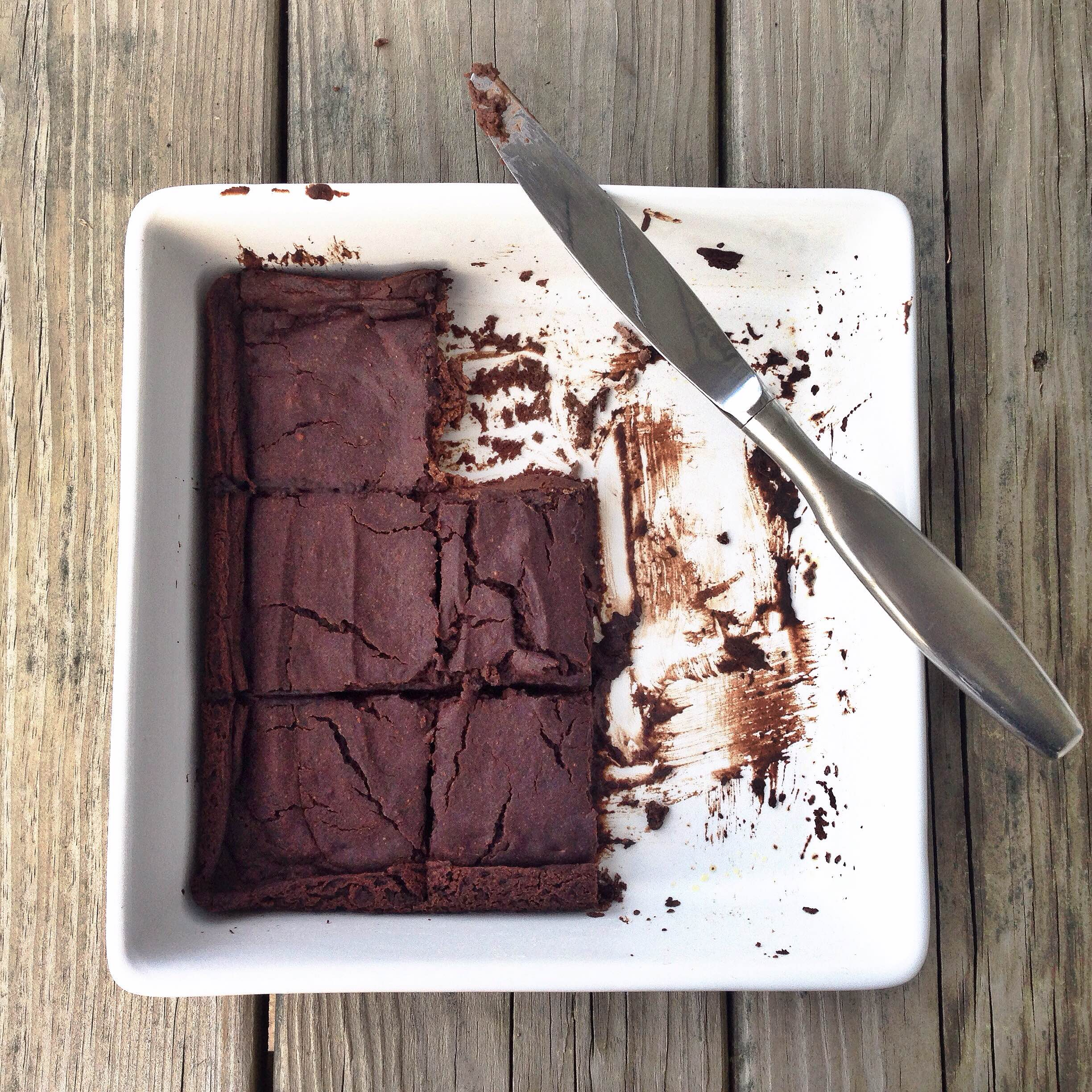 These flourless brownies are very gooey when they are warm, almost like a brownie pudding! Once they are chilled they are thick like fudge! Enjoy them either way!   The best news is that instead of flour these brownies use black beans and zucchini for the base of the batter plus tons of cacao (or cocoa) powder. What I love about cacao powder is that it is rich in antioxidants plus it adds fiber, magnesium, and iron to the brownies. You can find cacao powder in the natural food baking section of the grocery store, at health food stores, or at on-line retailers.