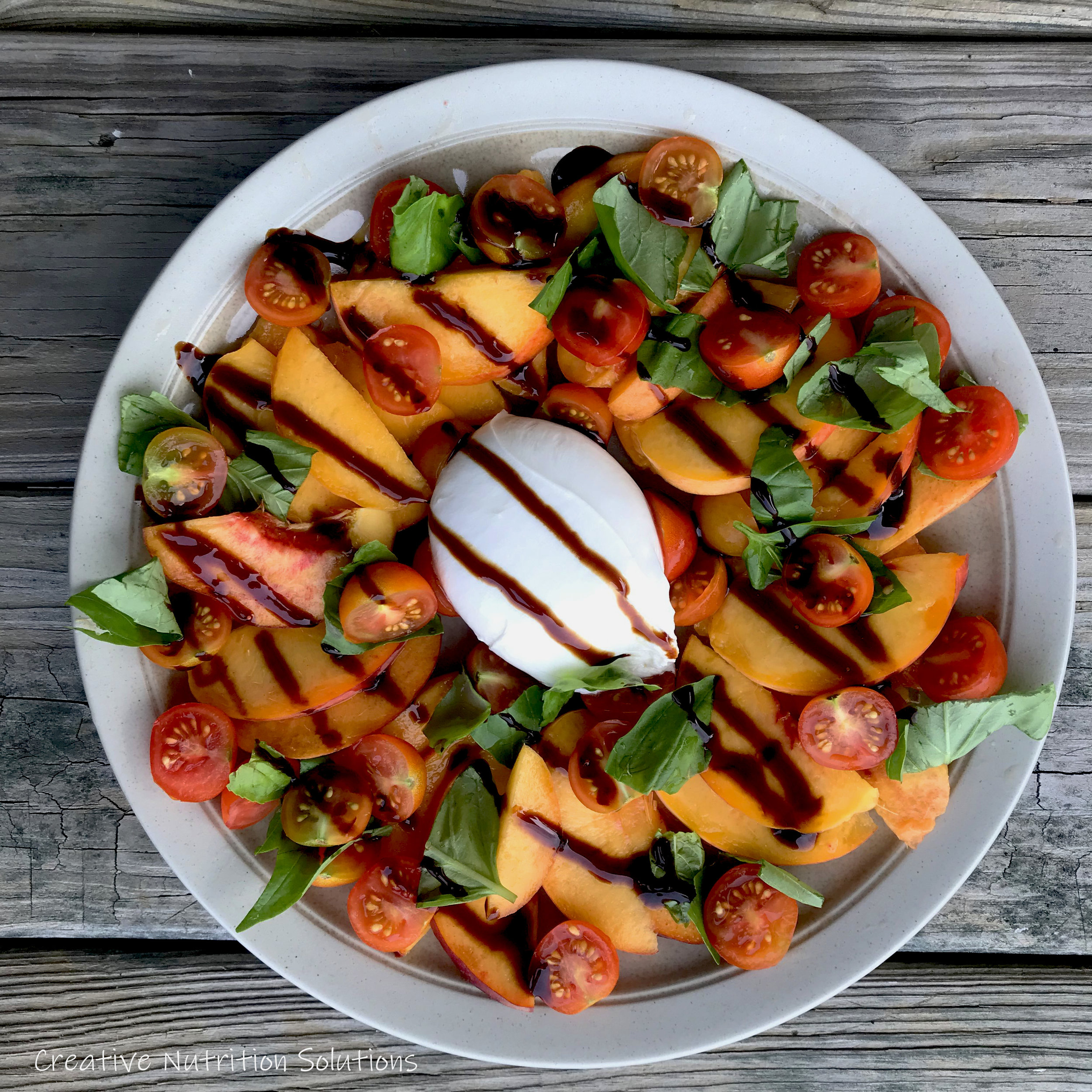 Peach Burrata Caprese Salad