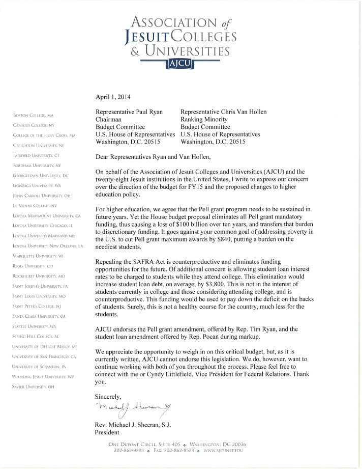 AJCU Letter in Response to the FY 2015 Ryan Budget