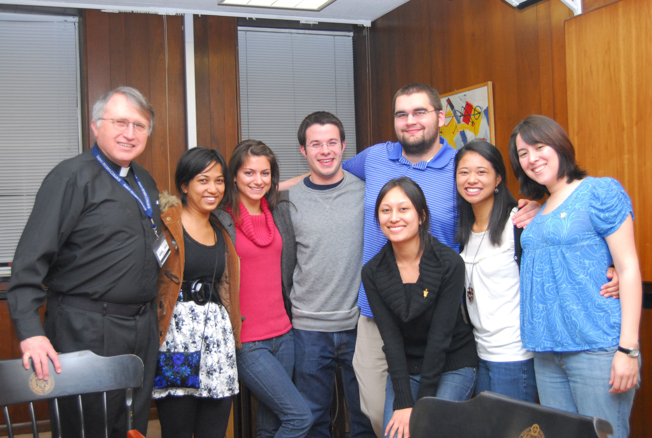 The Alpha Sigma Nu chapter at Saint Peter's in 2010. Pictured from left to right: Rev. Michael Braden, S.J., Alisha Chitrakar '10, Mariya Marinova '10, Gary Young '10, Jacob Hayden '10, Rezma Shrestha '10, Peaches Dela Paz '10 and Veronica Graveline '10. (Photo courtesy of Saint Peter's)