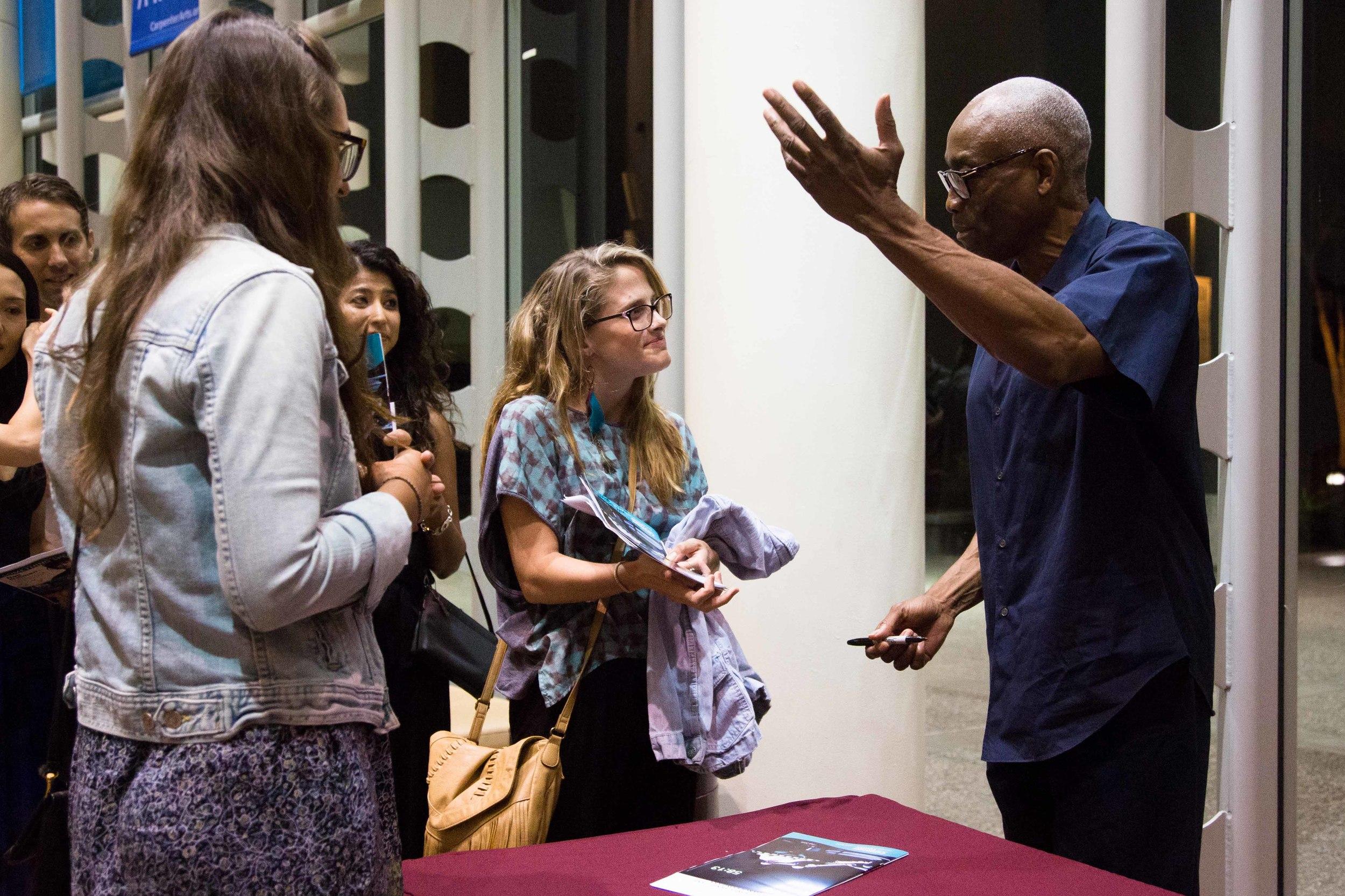 Bill T. Jones talks with LMU students at a recent workshop (Loyola Marymount University)