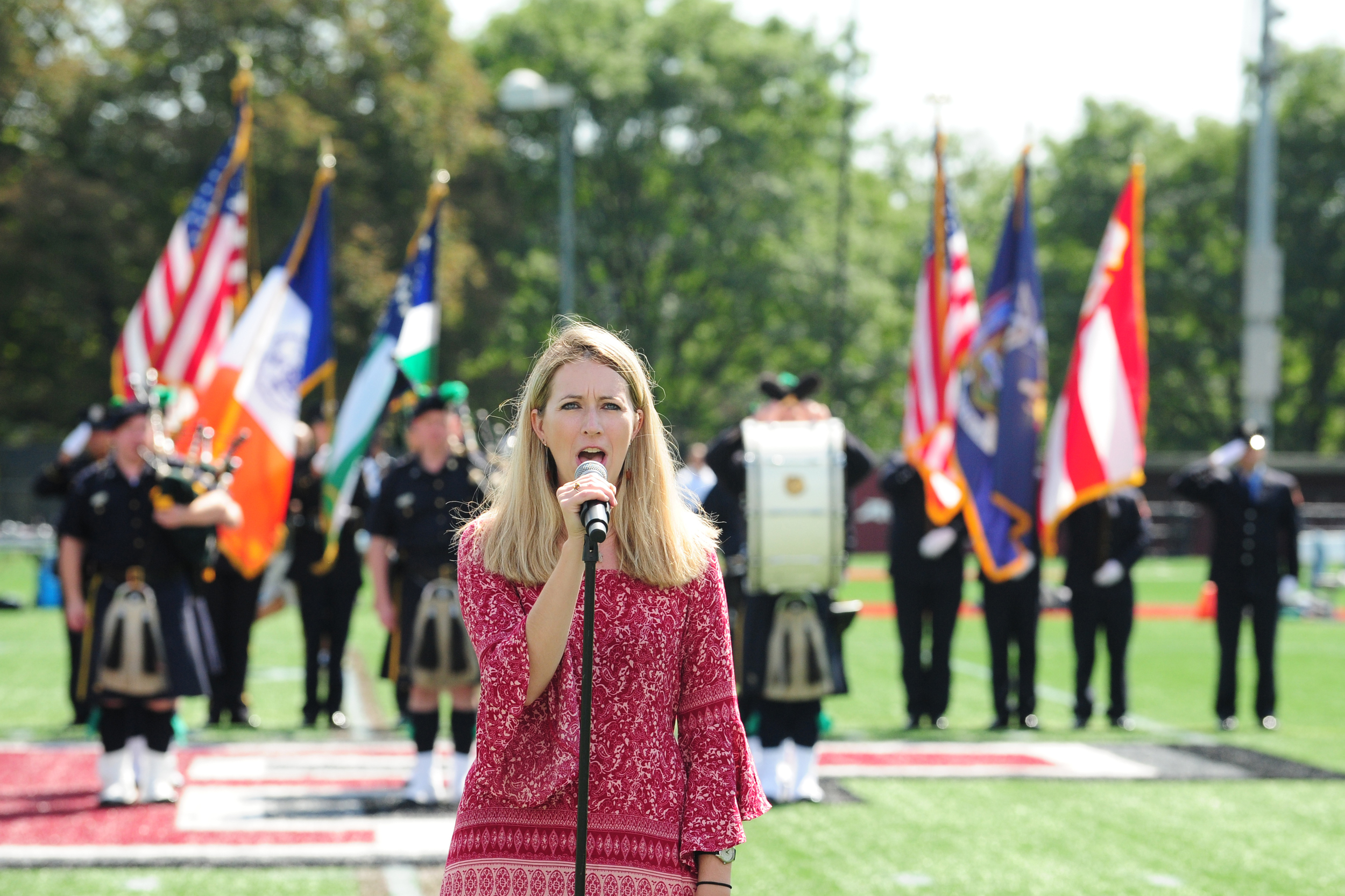 Deanna Howes Singing the National Anthem at Fordham University on September 19, 2015 (Photo by Janet Faller Sassi, Fordham University)