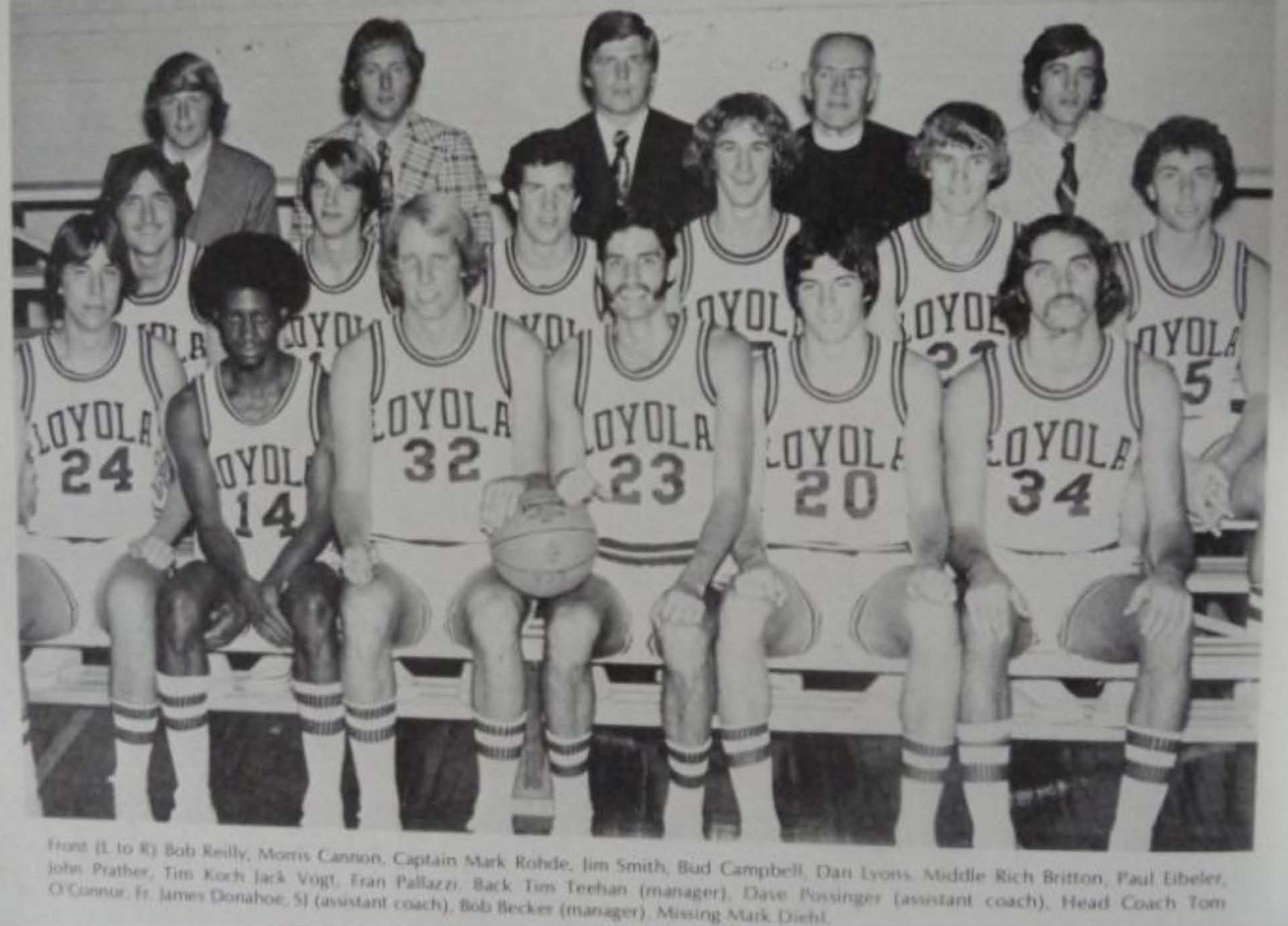 1975-76 Loyola Maryland men's basketball team (photo by Jimmy Smith)