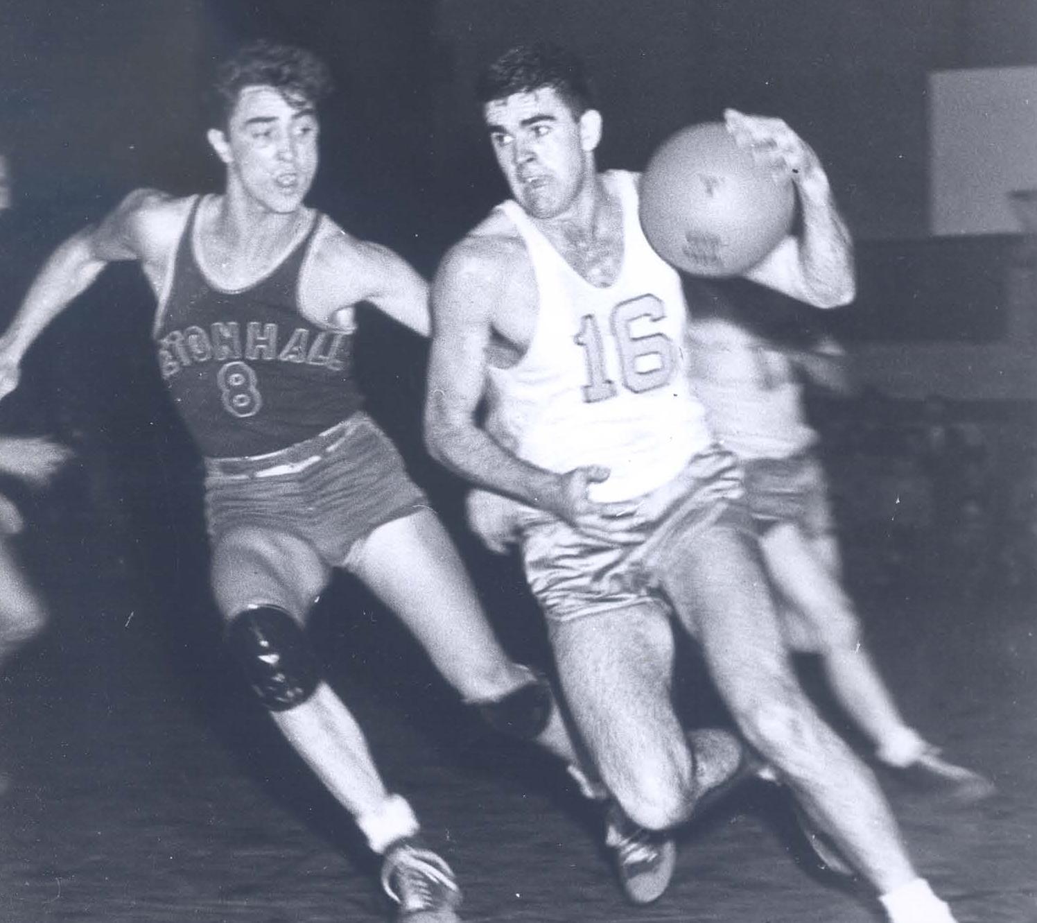 1,000 point Loyola scorer Jim Lacy, Jr. vs. Seton Hall Hall of Famer Bobby Wanzer in 1947 (photo by Jimmy Smith)