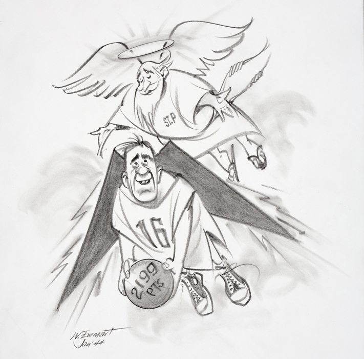 """""""Feathers are nice Lacy, but you need golden airfoils"""": Cartoon by Weston Emmart '44, former Loyola newspaper cartoonist (photo by Jimmy Smith)"""