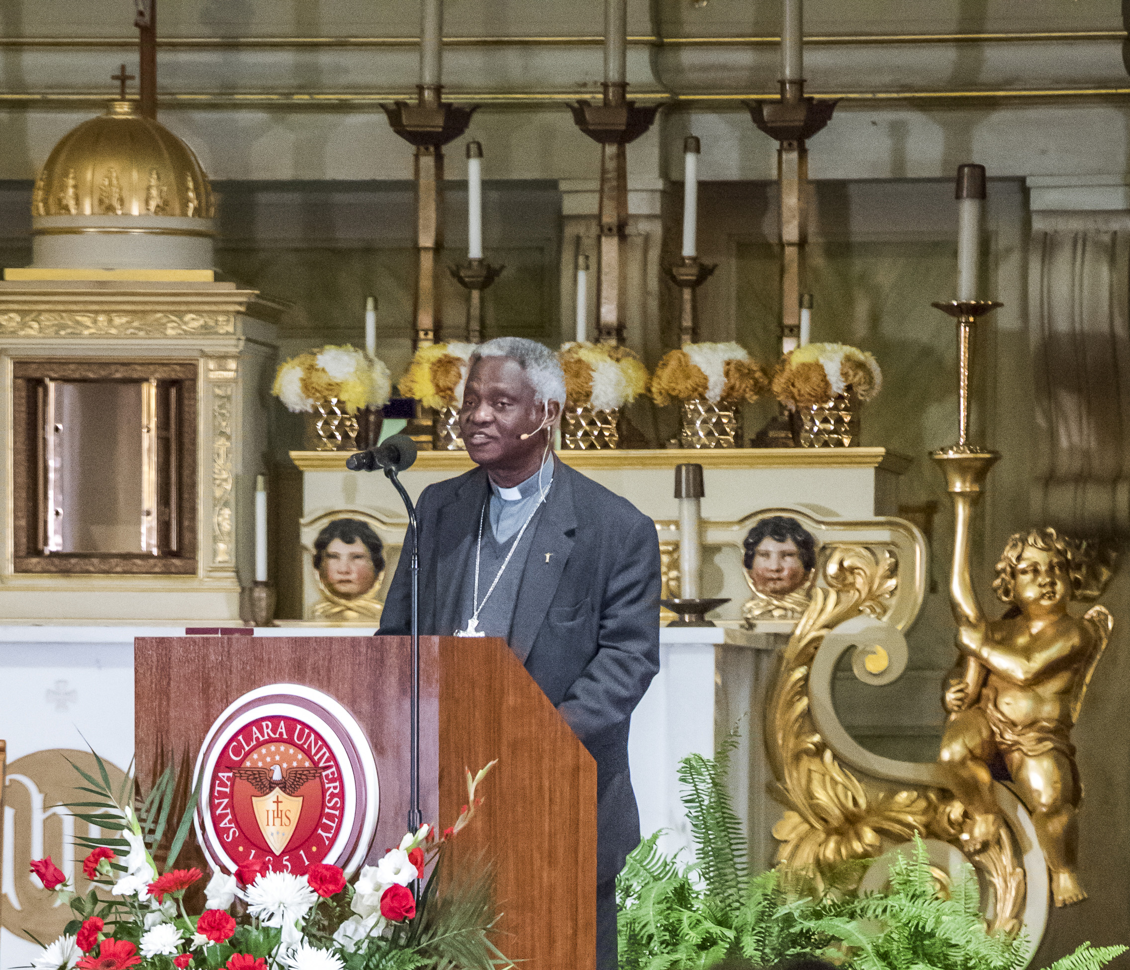 Cardinal Peter Turkson giving a keynote speech on Nov. 3, 2015 at Santa Clara's Mission Church (Photo by Joanne Lee, Santa Clara University)