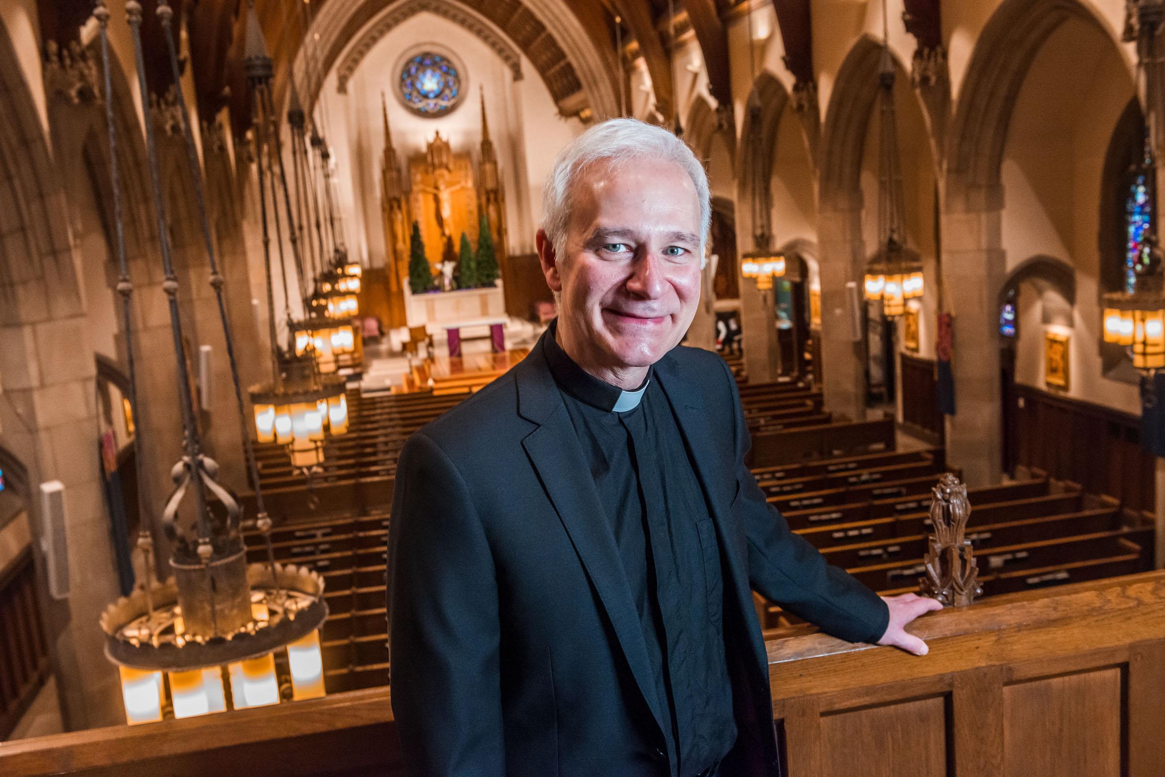 Rev. Joseph Costantino, S.J., Pastor of  ST. IGNATIUS CHURCH in CHESTNUT HILL, MA (Photo by Gary Gilbert, Boston College)