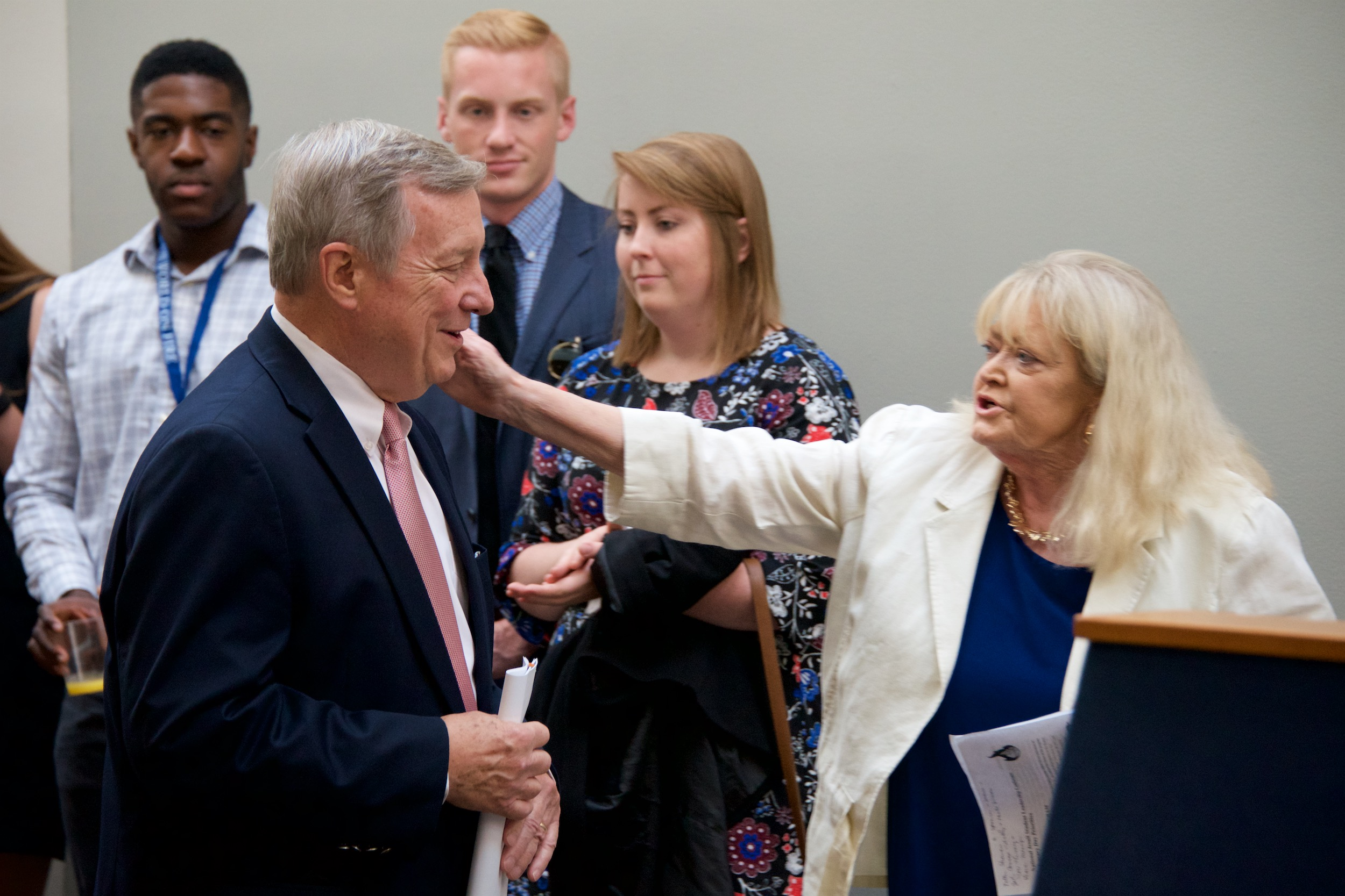 AJCU's Vice President for Relations, Cyndy Littlefield with Senator Richard Durbin (D-IL) (photo by Rafael Suanes)