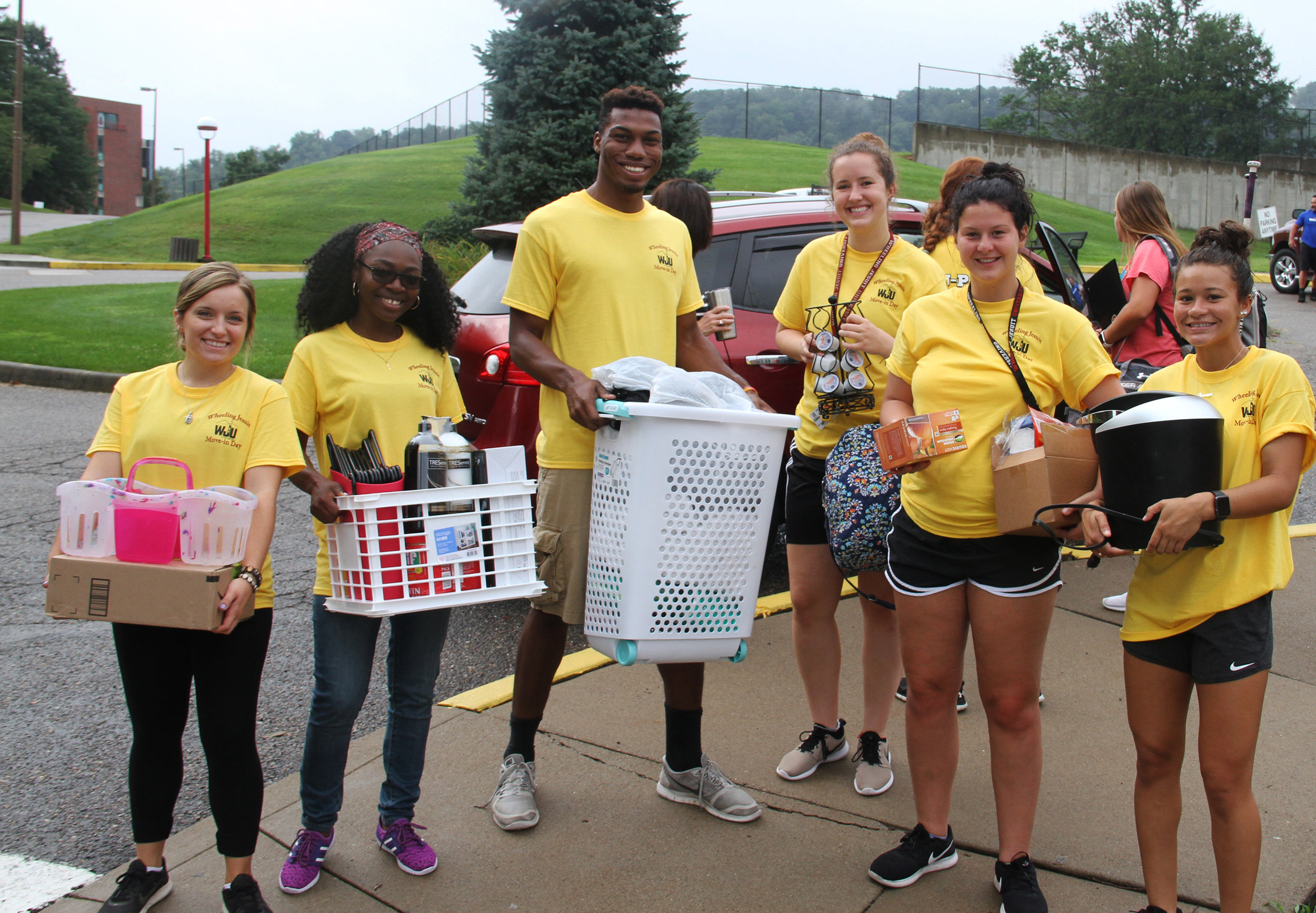 Students on move-in day at Wheeling Jesuit University (Wheeling, WV)