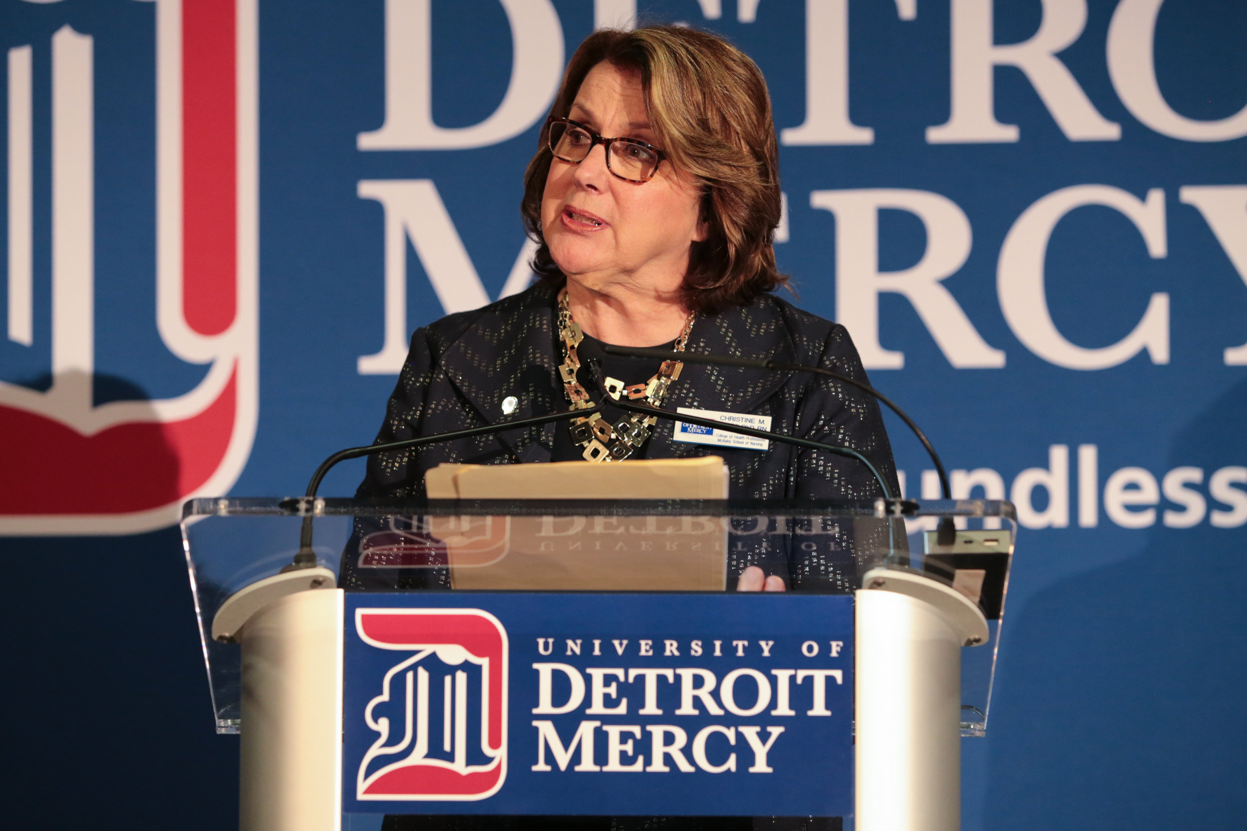 Christine Pacini speaking at the University of Detroit Mercy's annual Spirit Awards ceremony (Photo by University of Detroit Mercy)