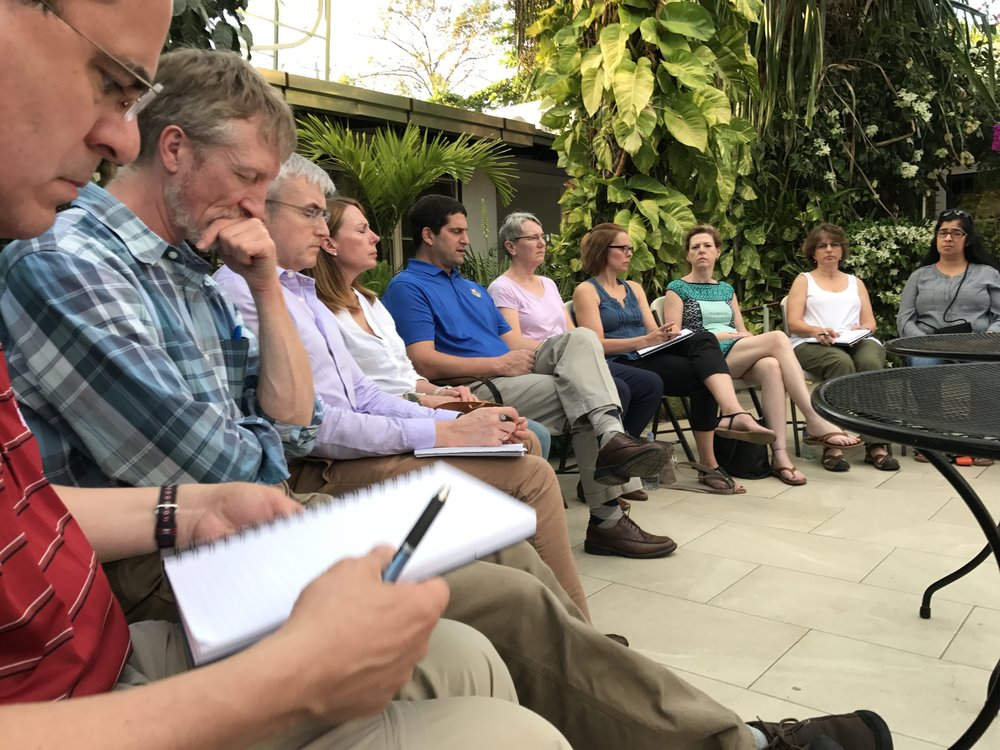 Dr. Joseph DeFeo (center, in blue) on a recent immersion trip for the Ignatian Colleagues Program (ICP) (Photo courtesy of Dr. Joseph DeFeo)