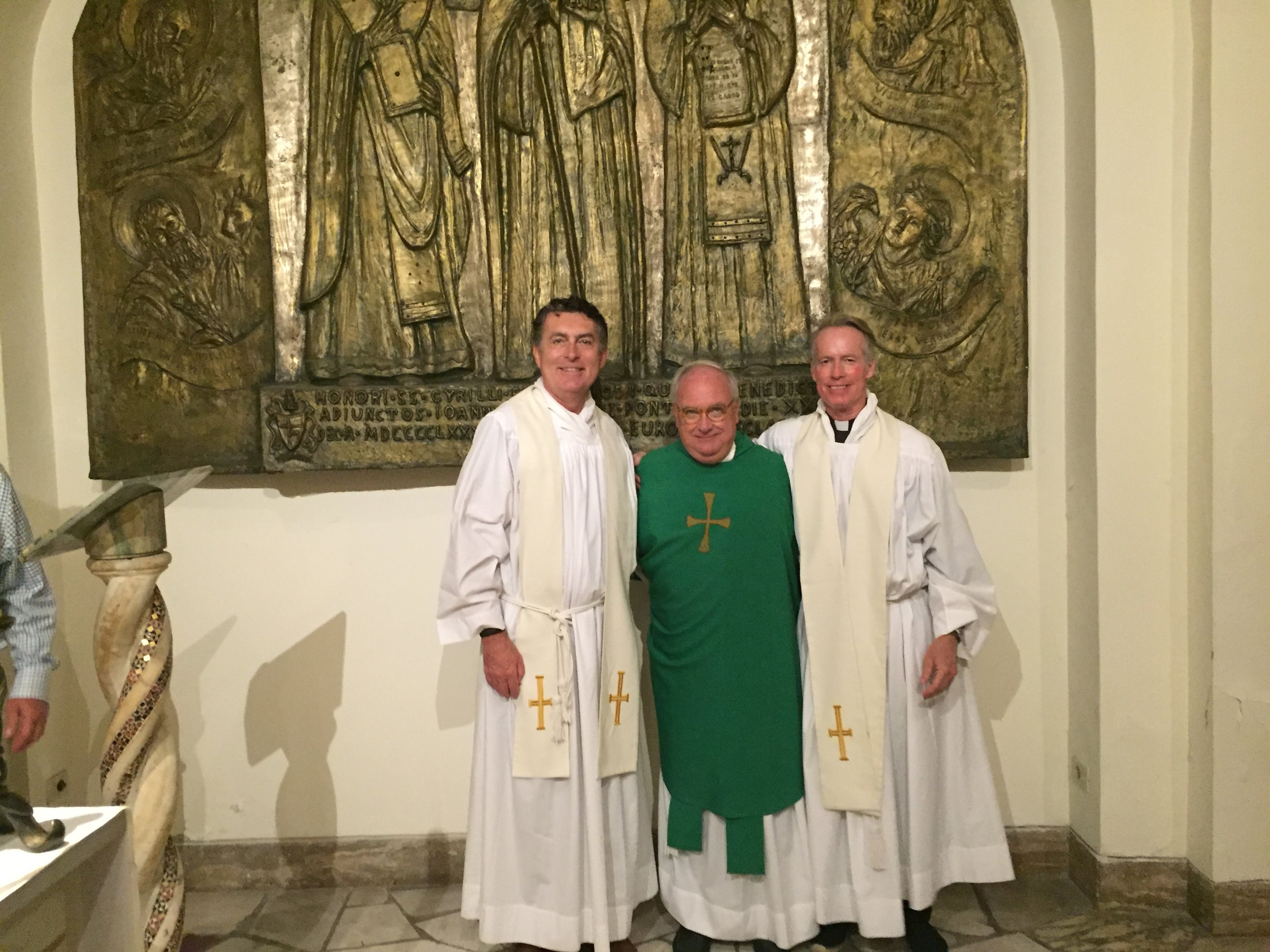 (L-R):Rev. Brian F. Linnane, S.J., president of Loyola University Maryland, Rev. Timothy Brown, S.J., special assistant to the president for mission integration &Rev. Jack Dennis, S.J., Loyola Trustee,celebrated Mass at the Vatican on the 30th anniversary of their ordinations in June 2016 (photo courtesy of Loyola University Maryland)