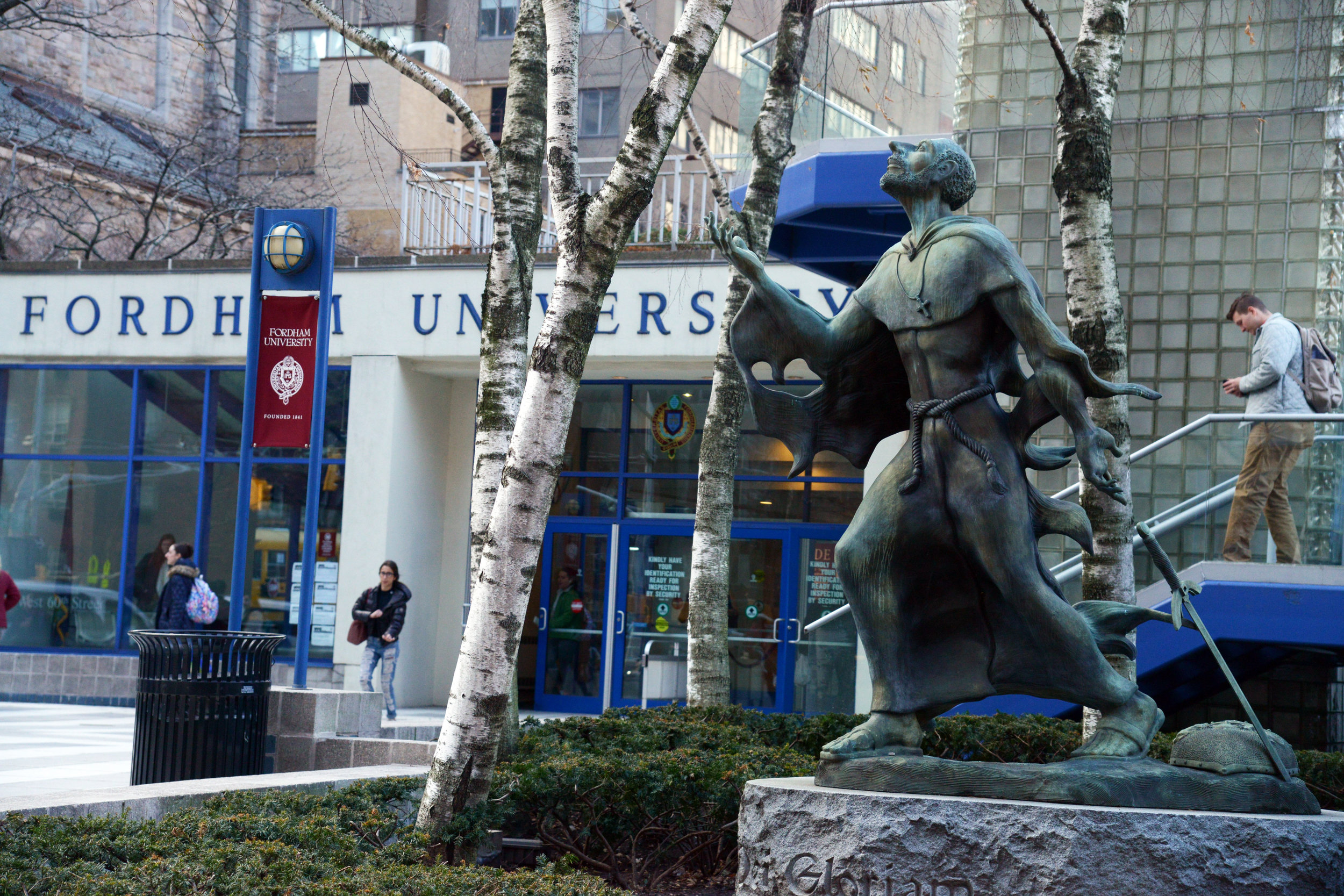 Statue of St. Ignatius Loyola on Fordham's Lincoln Center campus (photo courtesy of Fordham University)