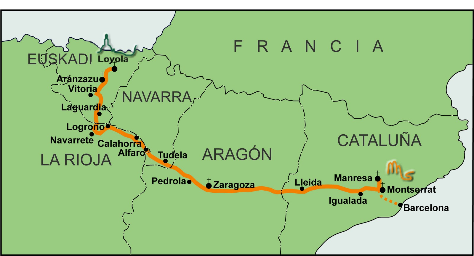 Map of route for Ignatian Camino in Spain (courtesy of Chris Lowney)