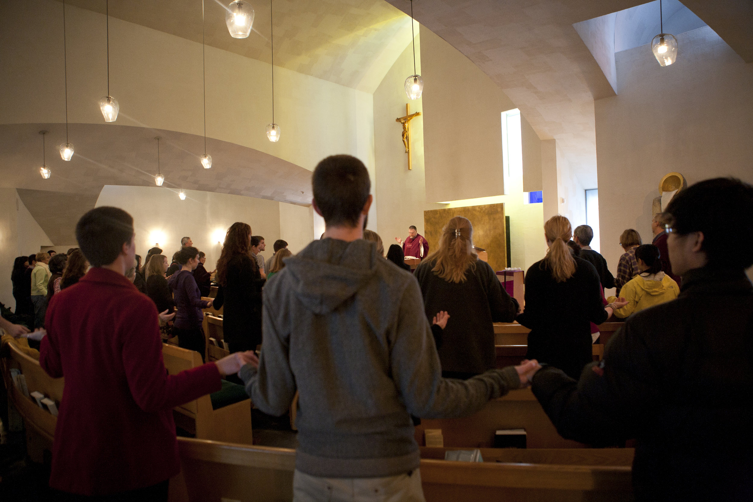 Students gather inside of the Chapel of St. Ignatius for Mass (photo courtesy of Seattle University)
