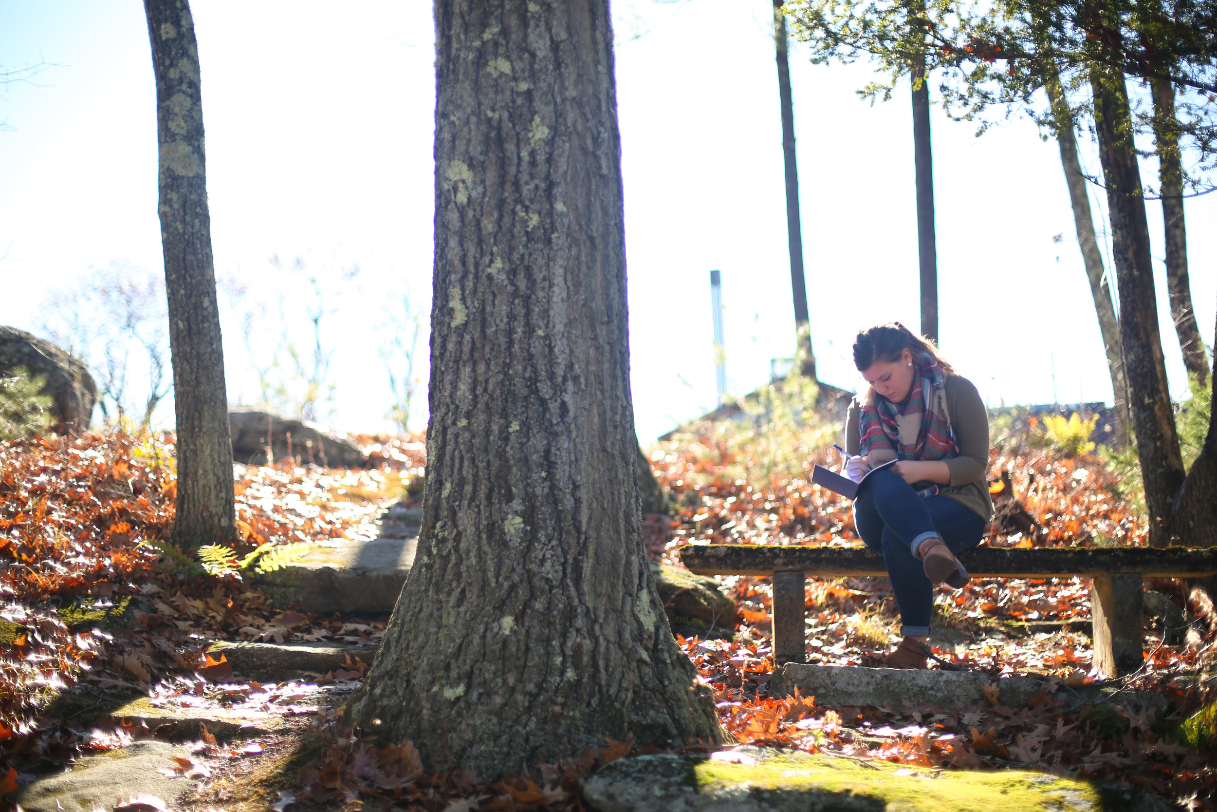 A student pauses to reflect on the grounds of the Contemplative Center (photo by Tom Retigg for the College of the Holy Cross)