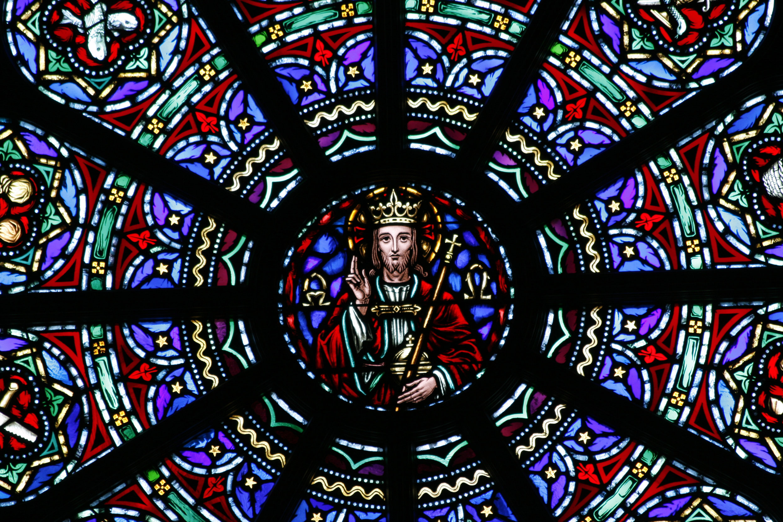 Close-up of stained-glass windows at Christ the King Chapel (photo courtesy of Canisius College)