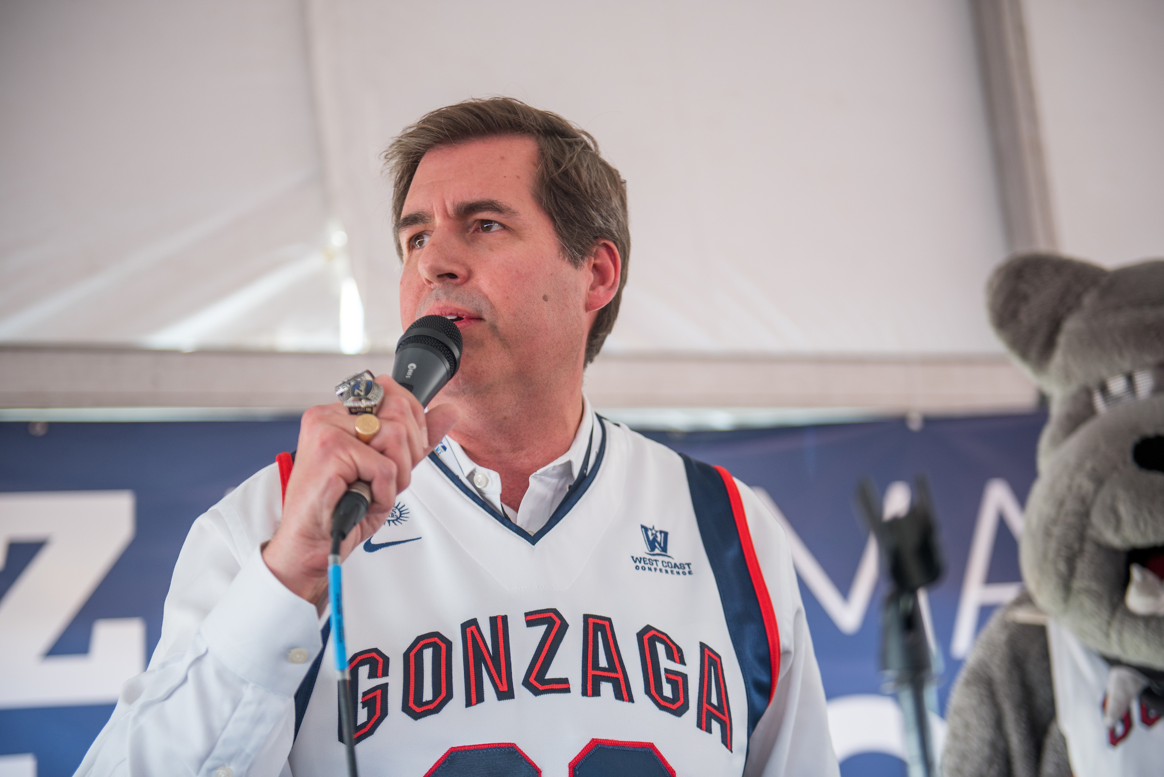 Gonzaga's president, Dr. Thayne McCulloh, actively joined in donor events and pep rallies, engaging with the University community throughout the tournament run (photo courtesy of Gonzaga University)