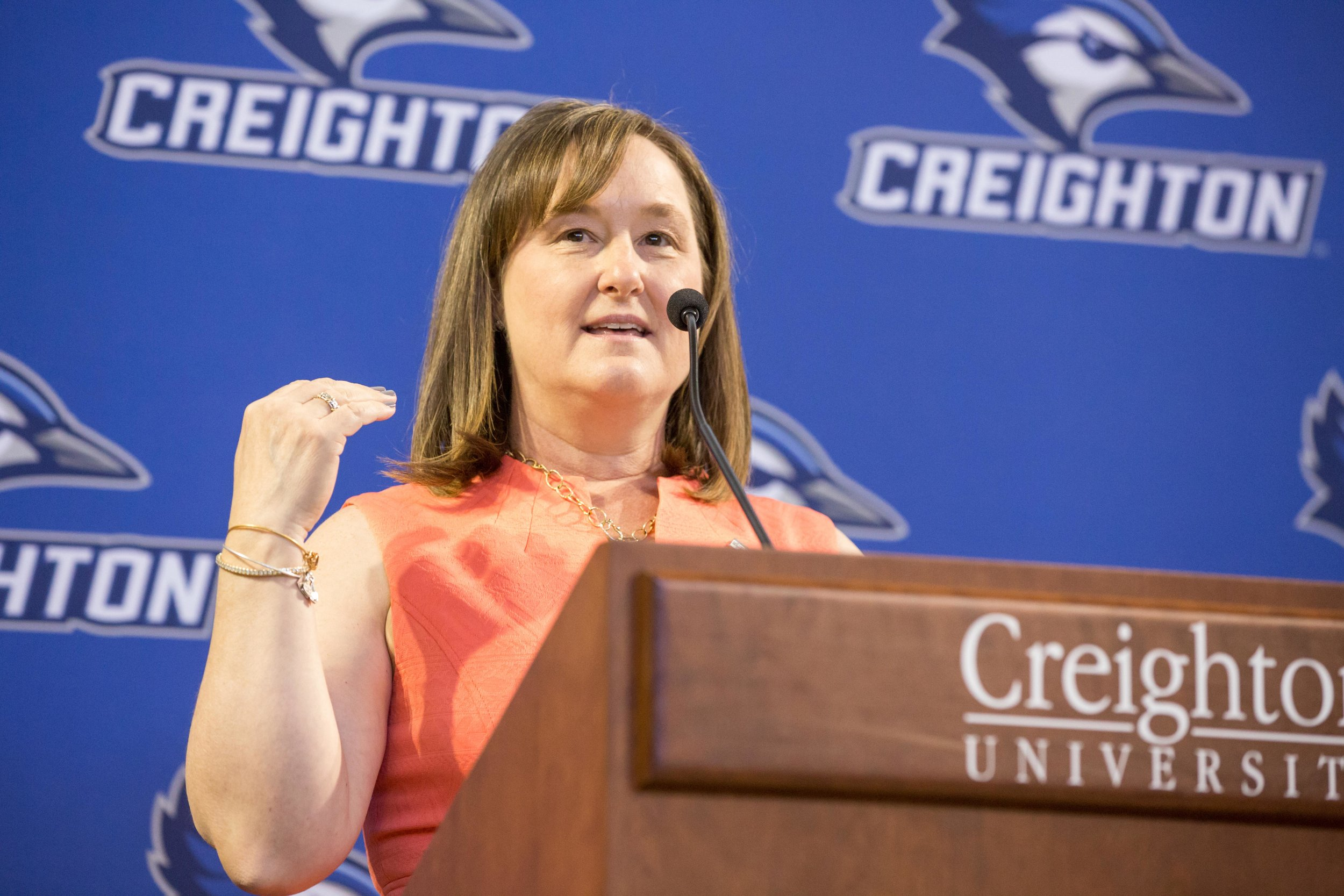 Former Creighton student-athlete Judy (Richmeier) Pritza received the Leaders for Life Award at the University's 2017 Leaders for Life Luncheon. Since its inception, Leaders for Life has raised more than $900,000 for endowed and annual scholarships for outstanding female leaders (photo courtesy of Creighton University)