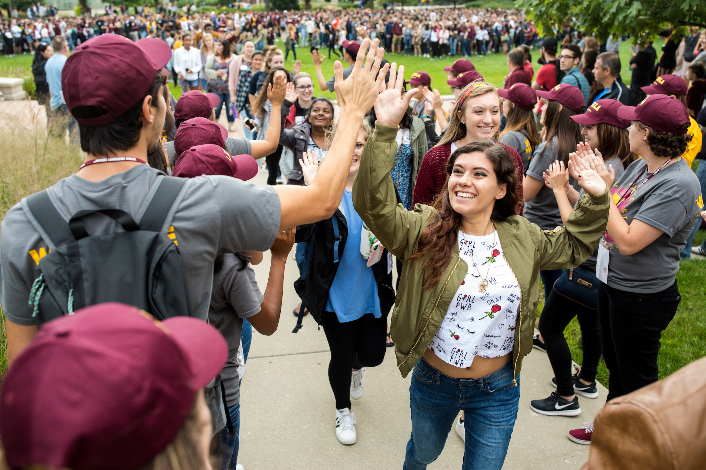 Incoming students participate in the New Student Convocation, an annual tradition when all freshmen and transfer students are officially inducted into their graduating class at Loyola University Chicago (photo by Lukas Keapproth for Loyola University Chicago)