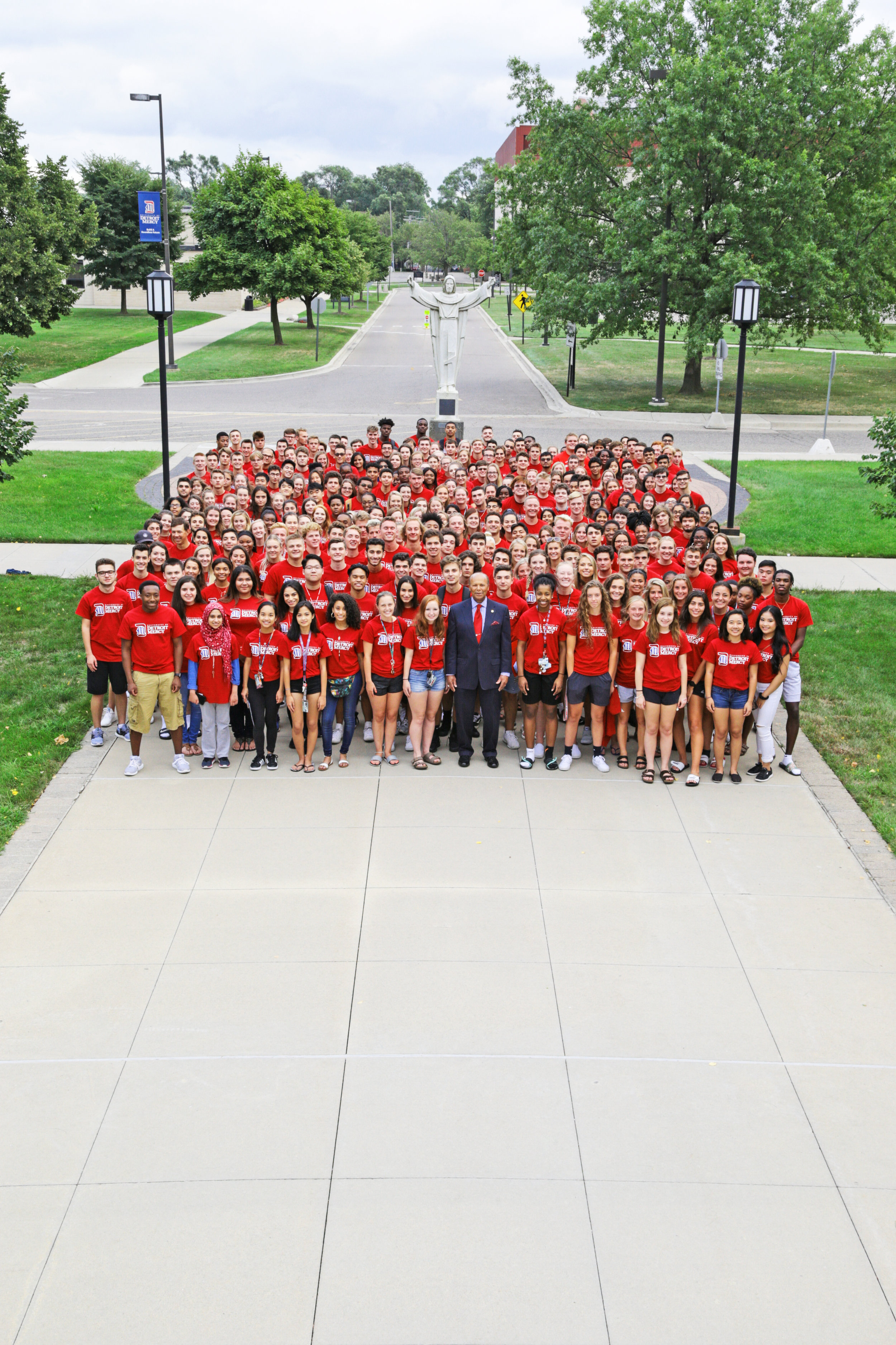 University of Detroit Mercy's president, Dr. Antoine M. Garibaldi (center, first row), welcomed more than 590 new students to campus this fall. This is the fourth consecutive year that Detroit Mercy has experienced an increase in new students (photo by University of Detroit Mercy).