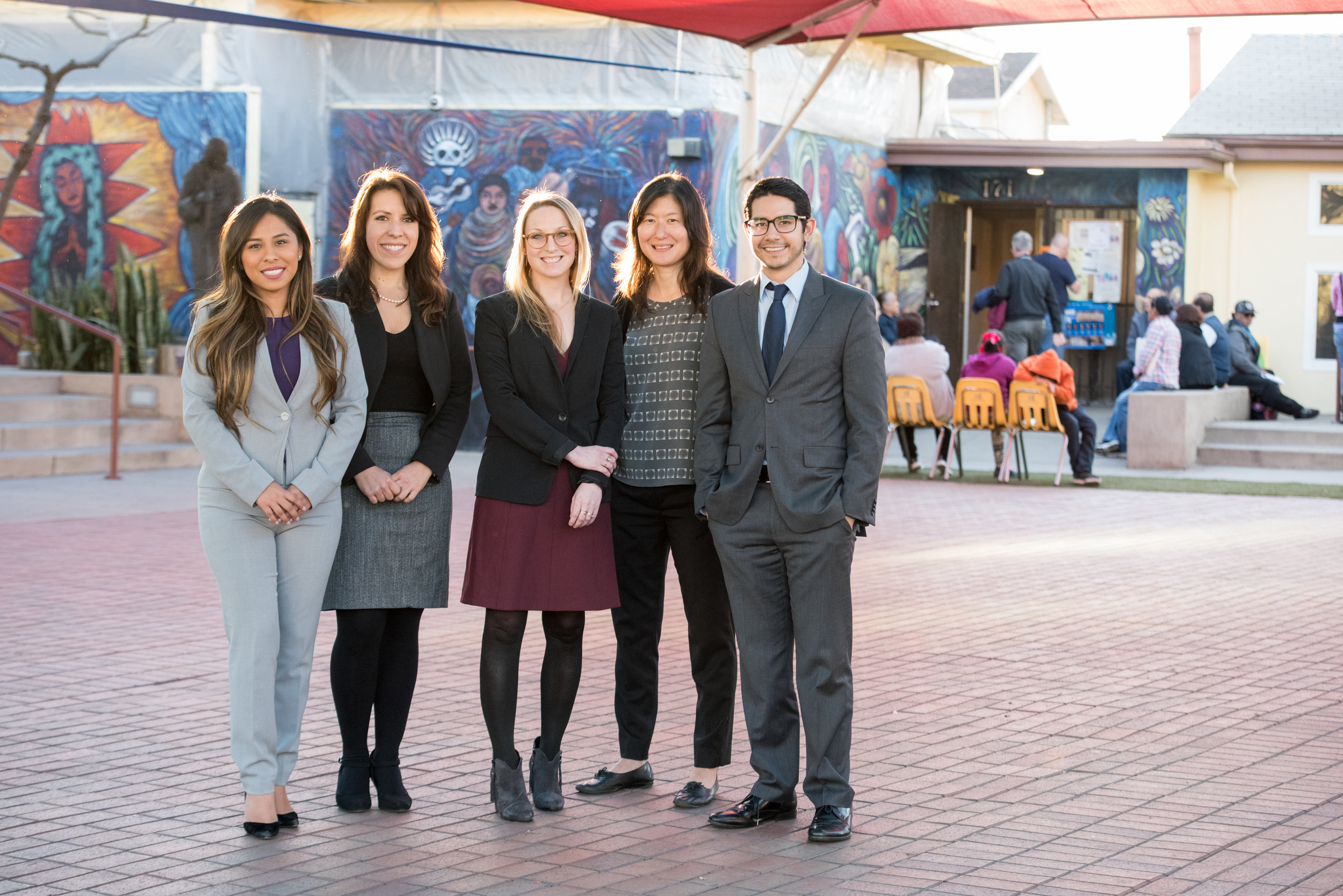 The Loyola Immigrant Justice Clinic at Loyola Law School, Los Angeles is the first law school-housed community-based immigration clinic in the United States. above. (L-R) Sandra Ruiz, staff attorney; Marissa Montes '12, co-director; Emily Robinson '12, co-director; Professor Kathleen Kim, faculty adviser; Alejandro Barajas, staff attorney (photo by Loyola Marymount University)