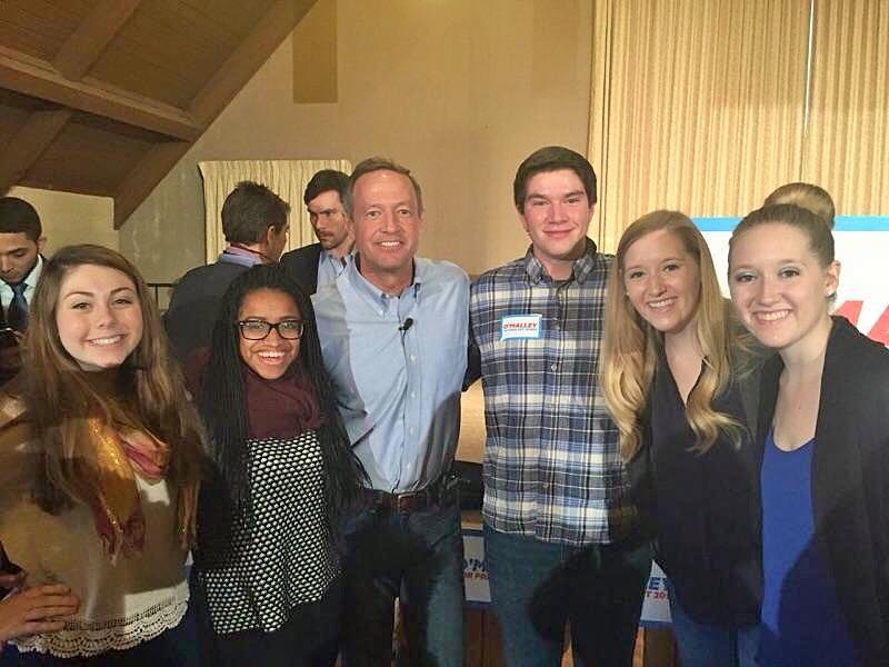 Above (L-R): Shelby Lauter, Taylor Liggins, Martin O'Malley, Gil Guthrie, Meagan Gosney & Rachel Gosney Take on Iowa in January 2016 (photo courtesy of SHelby Lauter)