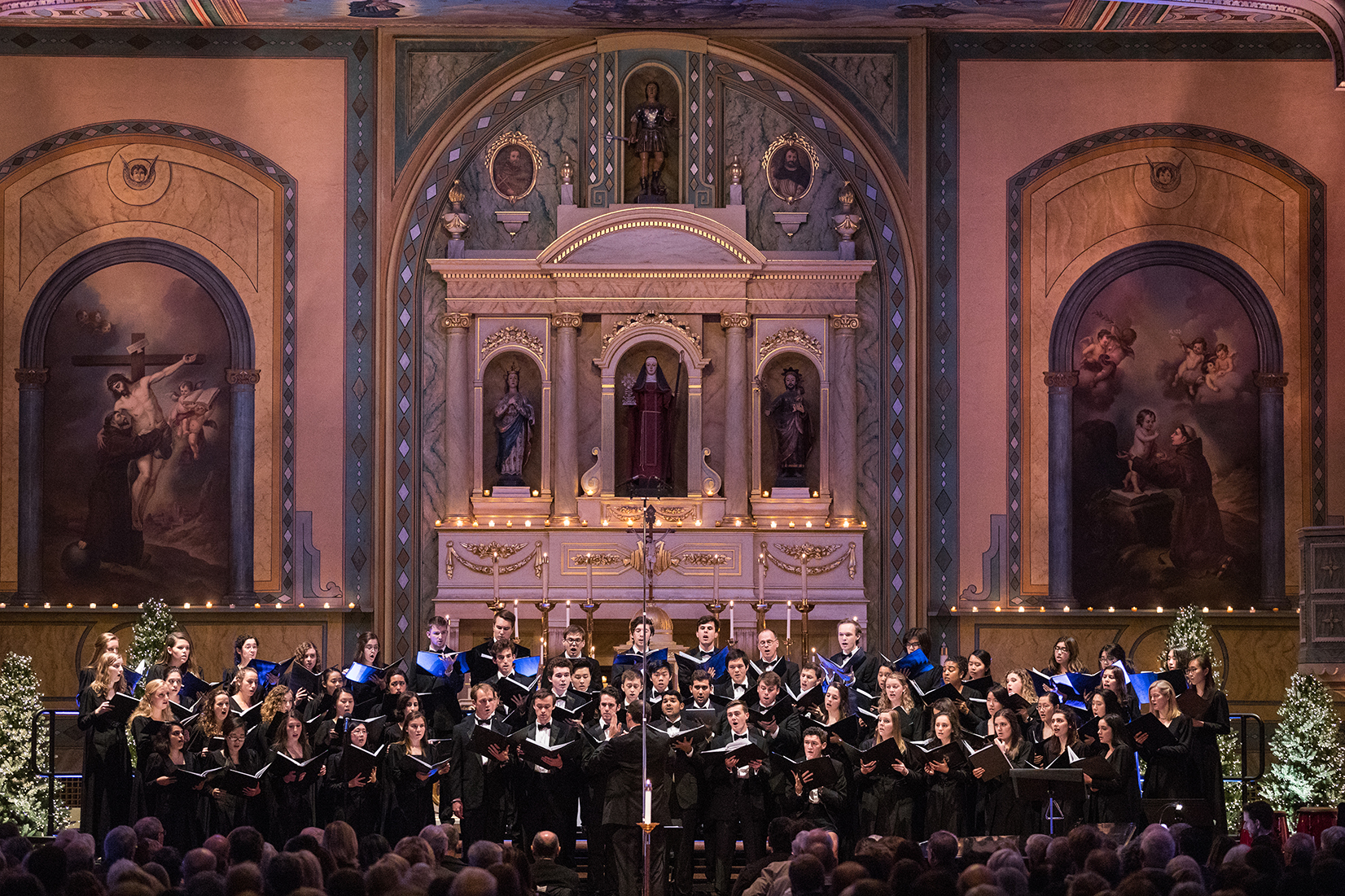Santa Clara University's Concert Choir and Chamber Singers performed during the annual Festival of Lights Concert at the Mission Santa Clara on December 1 (photo byStan Olszewski of SOSKIphoto)