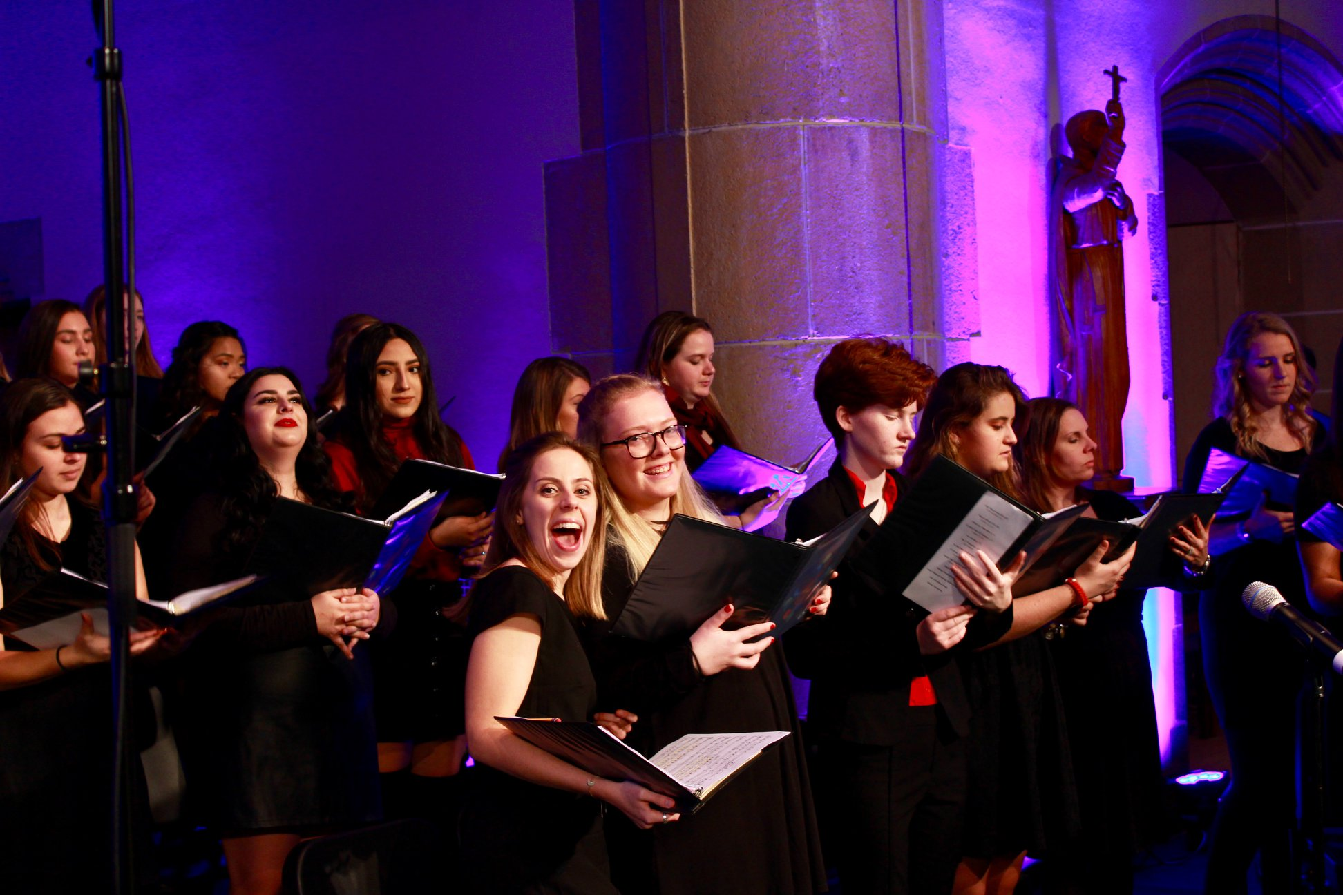 Students sang carols during this month's annual Festival of Lessons and Carols at Loyola University Maryland (photo by Claire Hammerschmidt;   click here for more photos from Loyola's Festival of Lessons and Carols  )