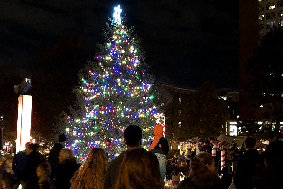 A crowd of students, faculty and staff basks in the glow of Saint Louis University's Christmas Tree during its Christmas on the Quad celebration on December 1 (photo by Amelia Flood, Saint Louis University Marketing and Communications;   click here for more photos from SLU's tree lighting ceremony  )