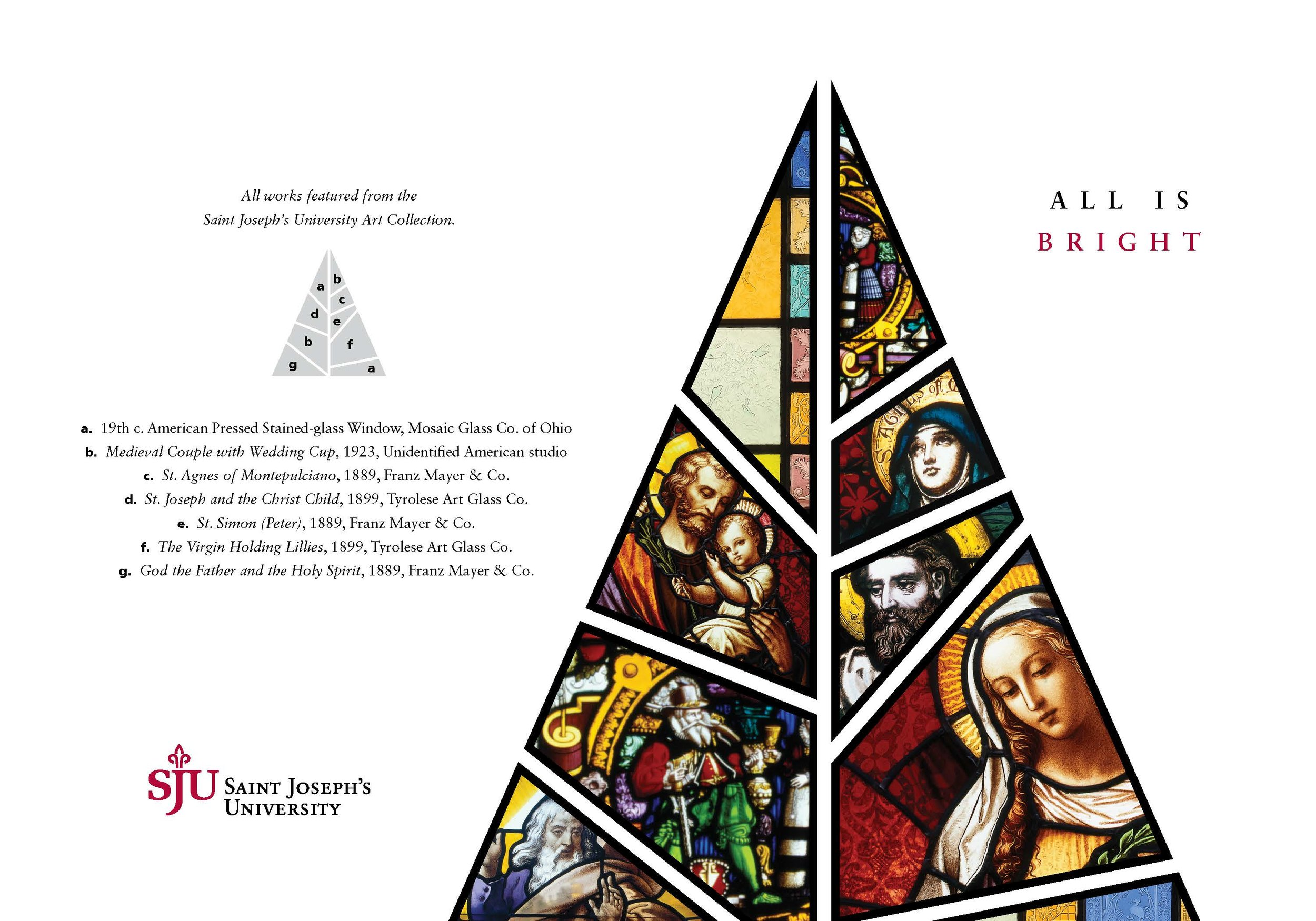 This year, Saint Joseph's University tapped into the University's historic stained-glass art collection for President Dr. Mark Reed's annual Christmas card (photo by Saint Joseph's University Creative Services/Ian Riley)