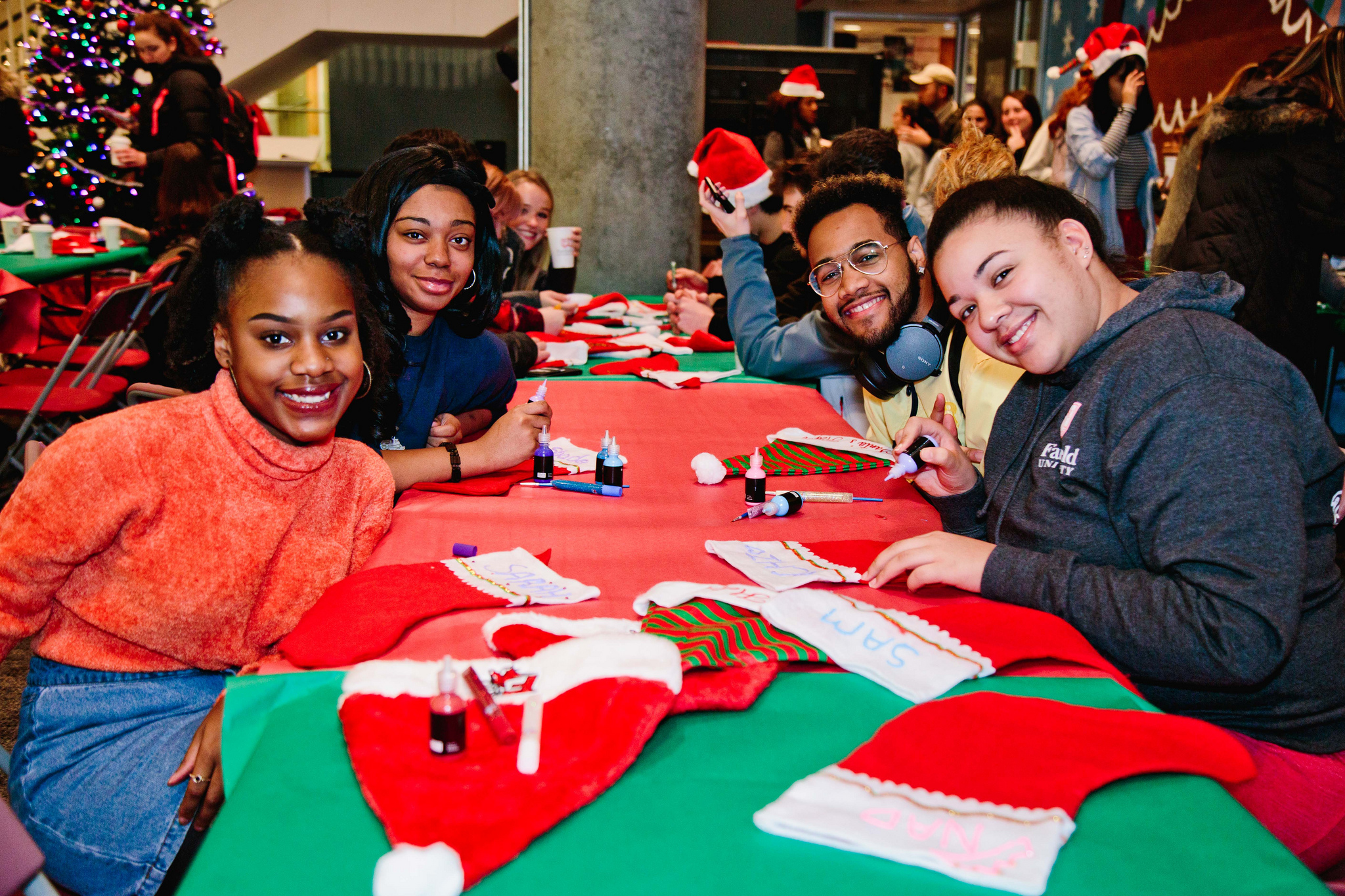 Students made Christmas stockings during the 2018 Tree Lighting and Santa's Workshop at Fairfield University on December 6 (photo courtesy of Fairfield University;   click here for more photos of Fairfield at Christmas  )