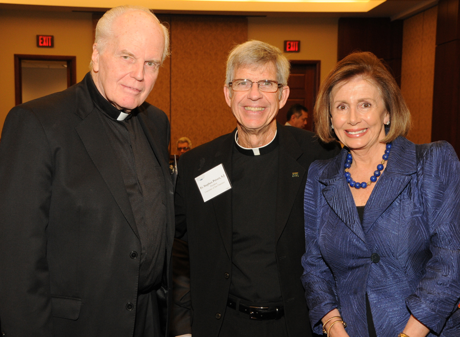 Fr. Currie with Rev. Stephen Privett, S.J. (former president of the University of San Francisco) and Representative Nancy Pelosi (D-CA) in spring 2011