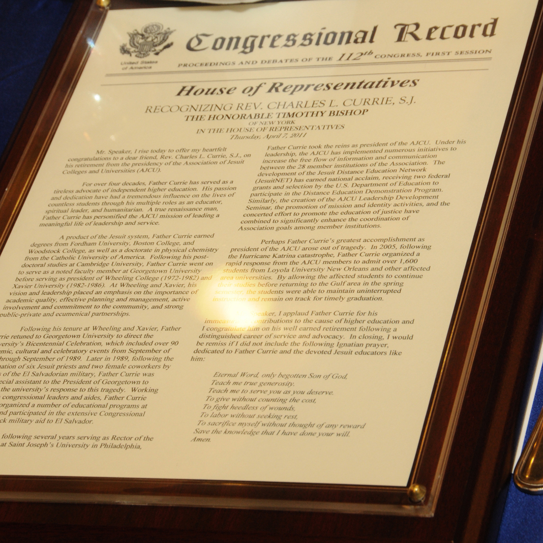 Fr. Currie's service to AJCU was recognized in the U.S. Congressional Record by former Representative Tim Bishop (D-NY)