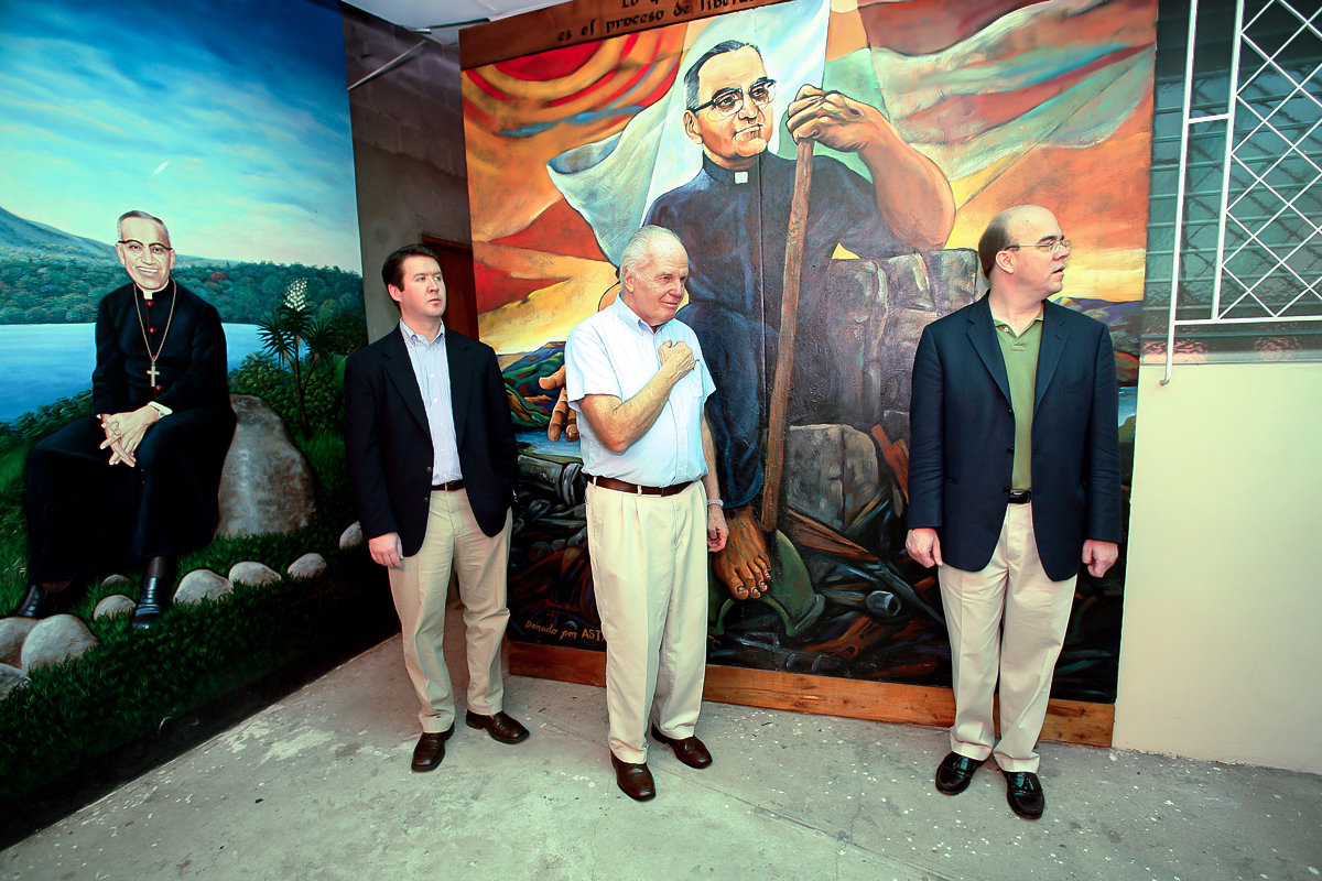In 2005, Fr. Currie attended the Commemoration of Archbishop (now Saint) Oscar Romero in El Salvador with Representative Jim McGovern (D-MA; pictured right) and Chris Philbin (former chief of staff to Rep. McGovern) (photo courtesy of Linda Panetta)