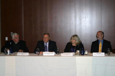 Cyndy with former AJCU president, Rev. Gregory F. Lucey, S.J., Senate Minority Whip, Richard Durbin (D-IL) and Phil Hale, Vice President for Government Affairs at Loyola University Chicago during the 2011 AJCU Federal Relations Conference