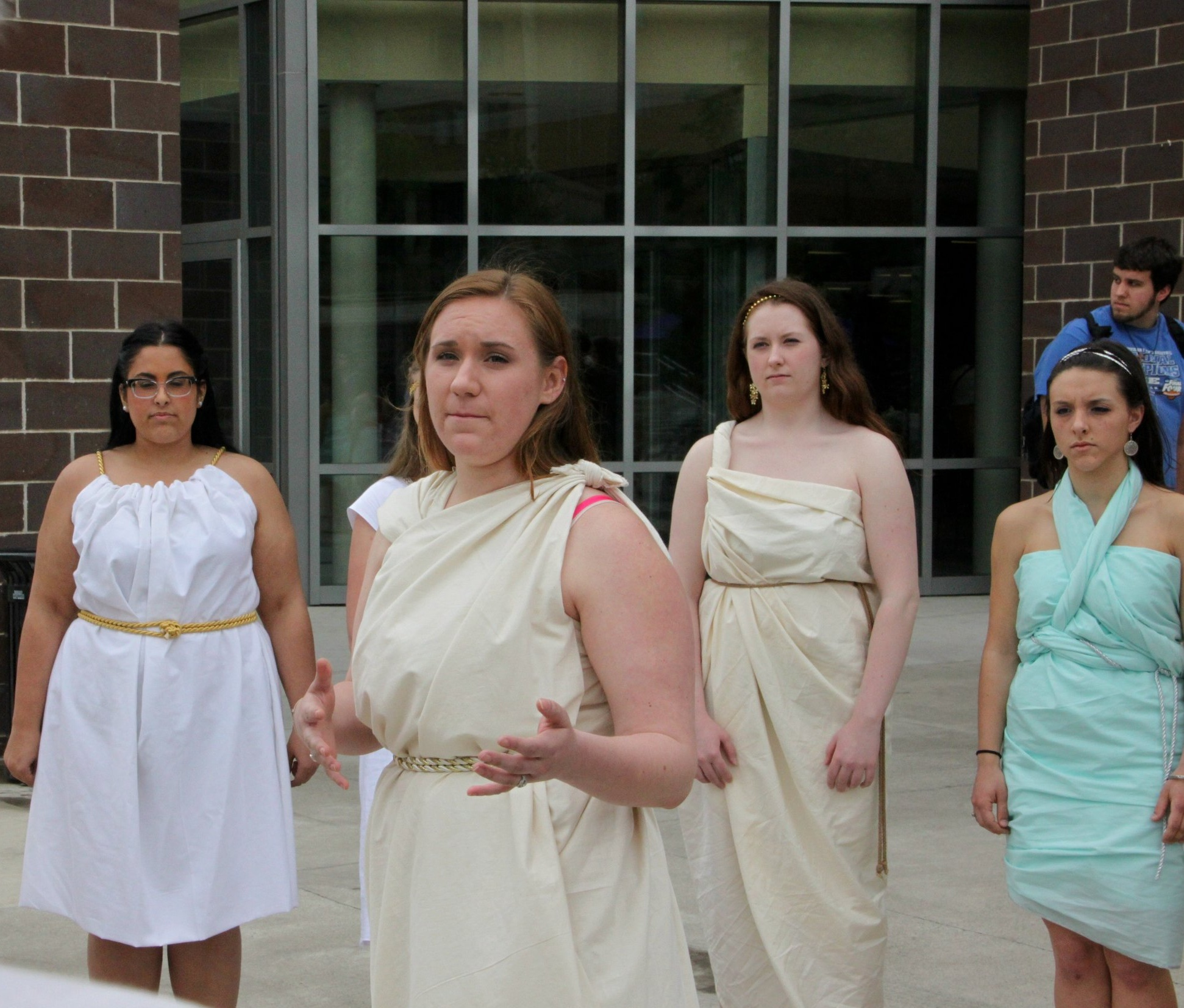 Scranton Students dressed in togas speak about Plato's  Phaedrus  near the campus center as part of the  Trivium , an intensive course within the University's Special Jesuit Liberal Arts Honors Program (photo by University of SCranton)