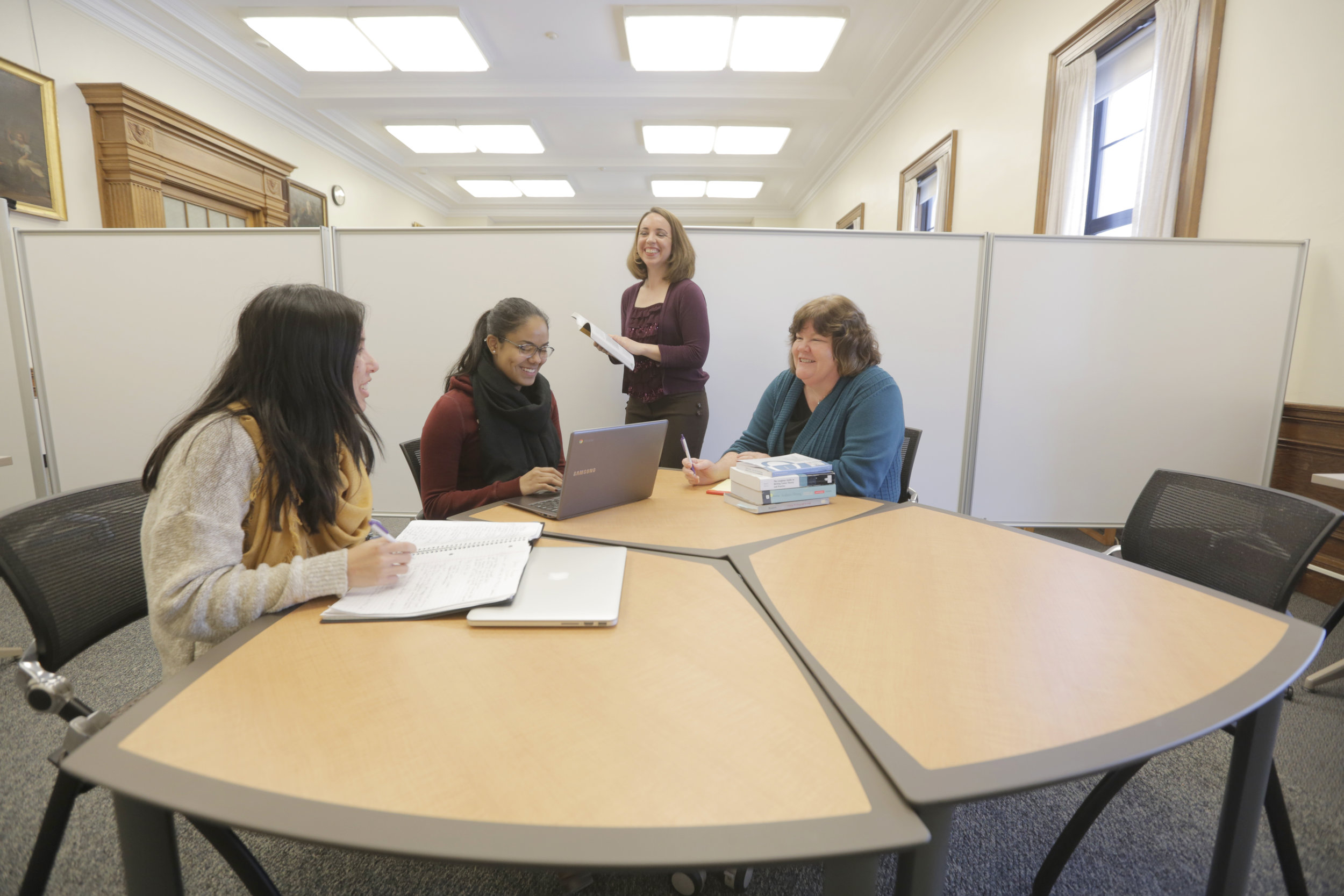 Staff and students work together at the College of the Holy Cross' Center for Writing (photo by College of the Holy Cross)