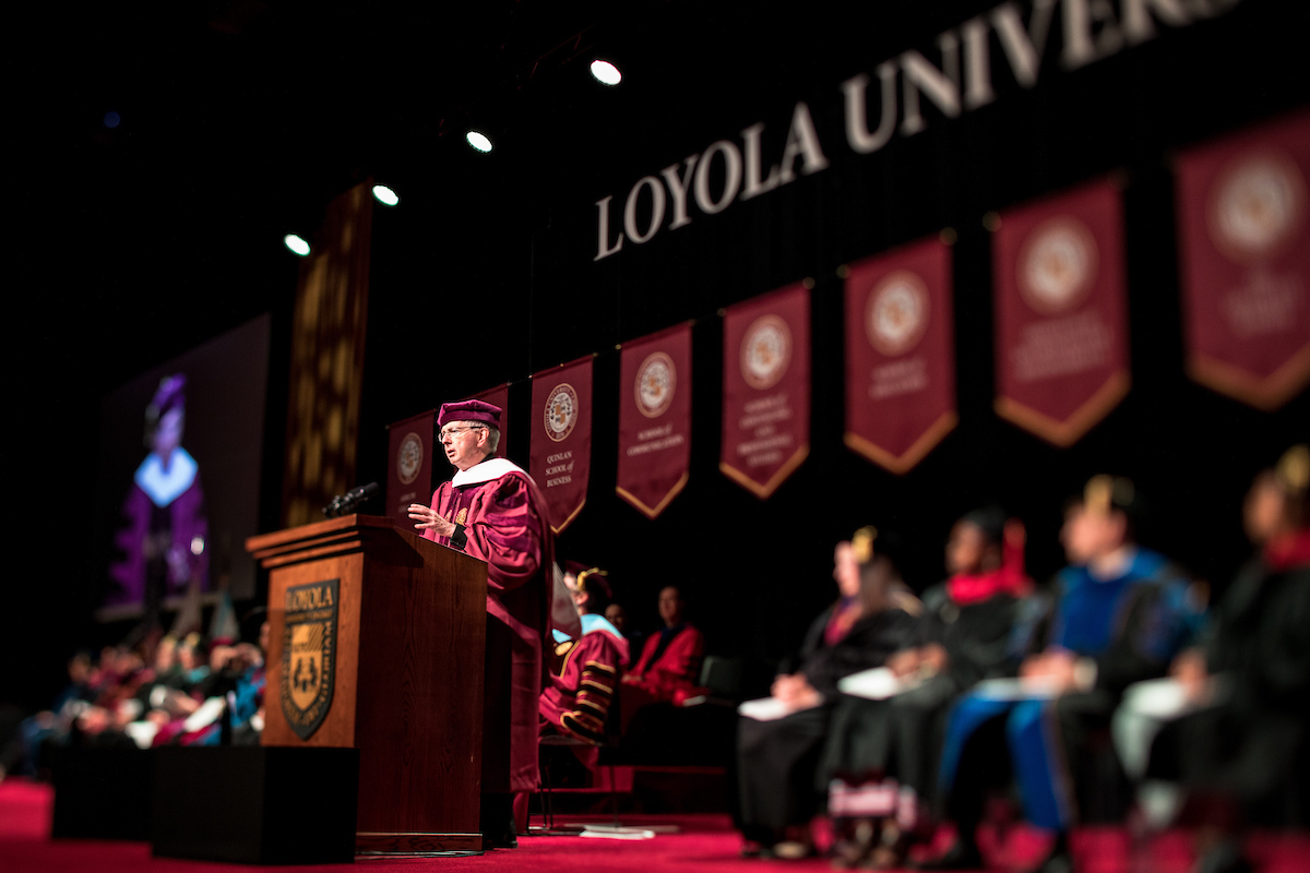 Rev. Michael J. Sheeran, S.J., president of AJCU, addresses graduates at Loyola University Chicago on Tuesday, May 7 (photo by Lukas Keapproth)