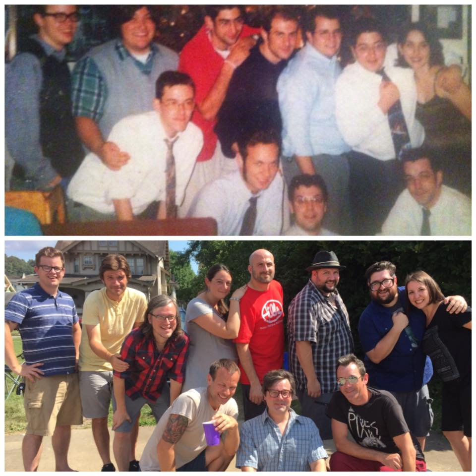 Top: Vince Sirianni with WJU classmates in 1999, Bottom: A recreation of the same photo in 2015 (photo courtesy of Vince Sirianni)