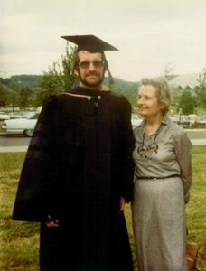 Tim Cogan and his mother at his graduation from West Virginia University Law School in 1980 (photo courtesy of Tim Cogan)