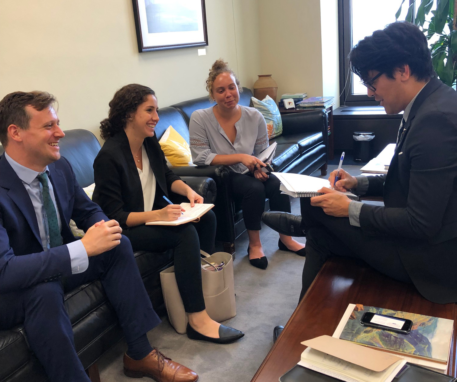 (L-R) Matt Cuff and Andrea Solis Canto met with staff members from the office of Senator Brian Schatz (D-HI) earlier this month (photo by Jenny Smulson, AJCU)