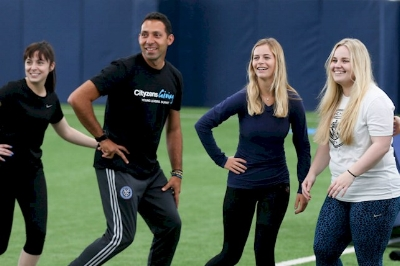 Mauricio Maya (2nd from left) enjoying an activity in Manchester